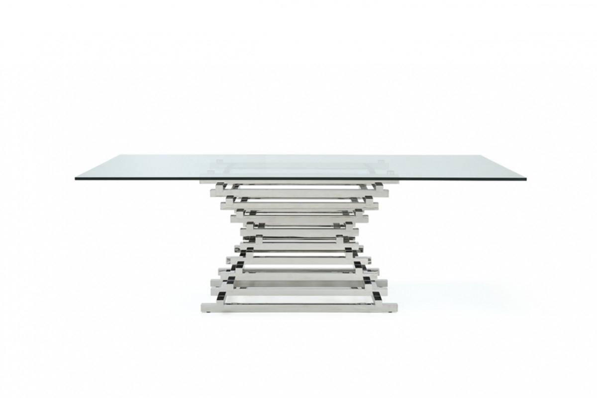 Modrest Crawford Modern Rectangular Glass Dining Table With 2018 Crawford Rectangle Dining Tables (Image 16 of 20)
