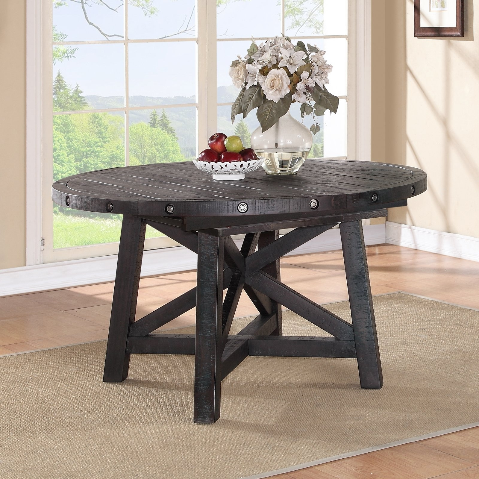 Modus Yosemite Solid Wood Round Extension Table – Cafe | Hayneedle Regarding Newest Lassen Extension Rectangle Dining Tables (Image 11 of 20)