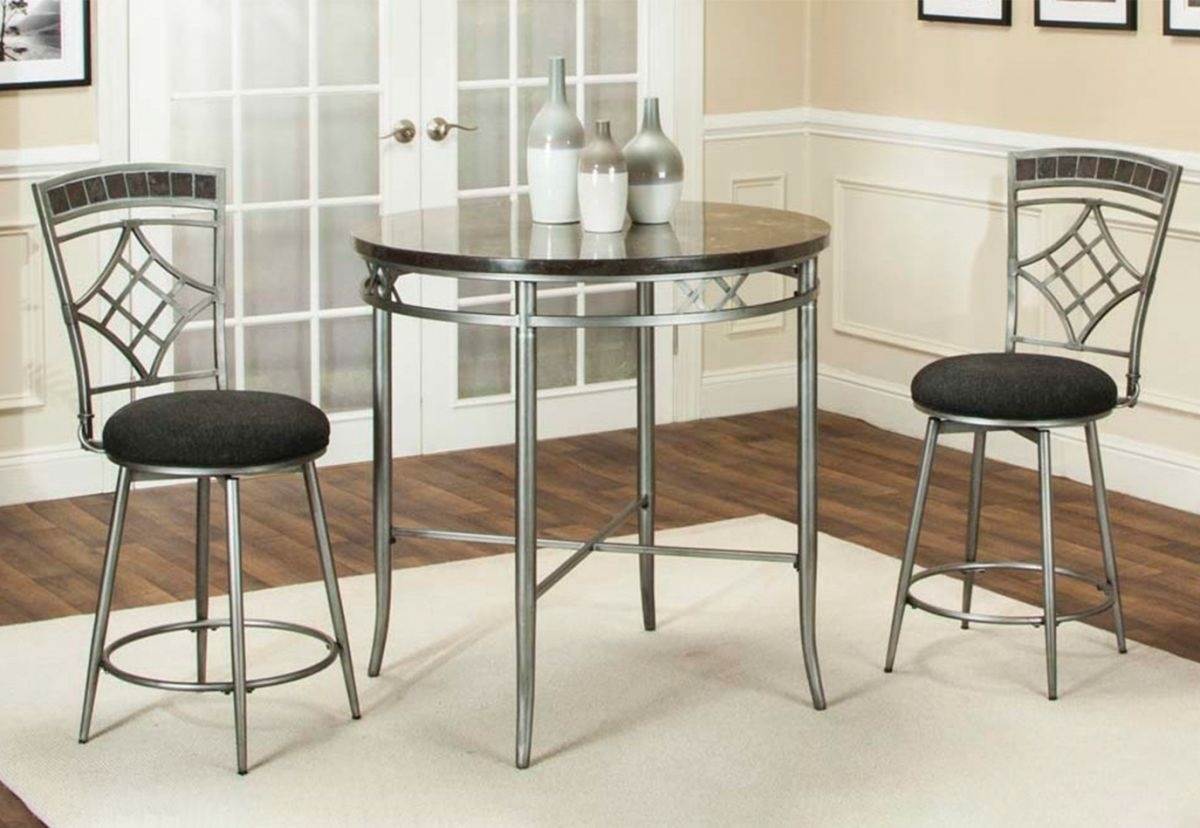 Morenci 5 Pc Marble/metal Counter Height Dining Room | Badcock & More With Most Up To Date Valencia 5 Piece Counter Sets With Counterstool (Photo 6 of 20)