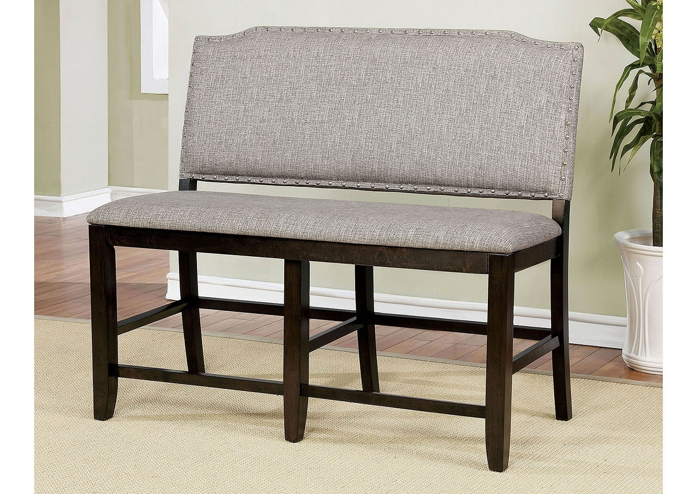 Moreno Valley Furniture Teagan Dark Walnut Counter Height Bench Intended For Most Recently Released Teagan Extension Dining Tables (Image 11 of 20)