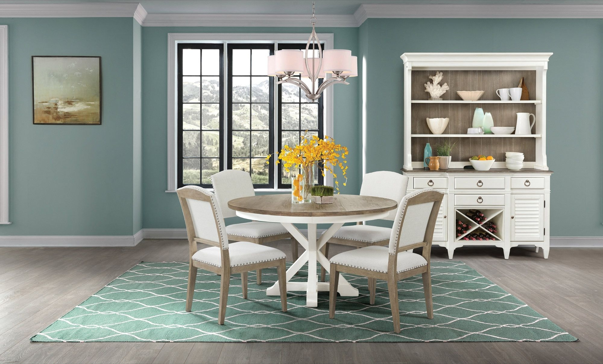 Myra Round Dining Table Set | Riverside Furniture | Home Gallery With 2017 Craftsman 9 Piece Extension Dining Sets With Uph Side Chairs (View 15 of 20)