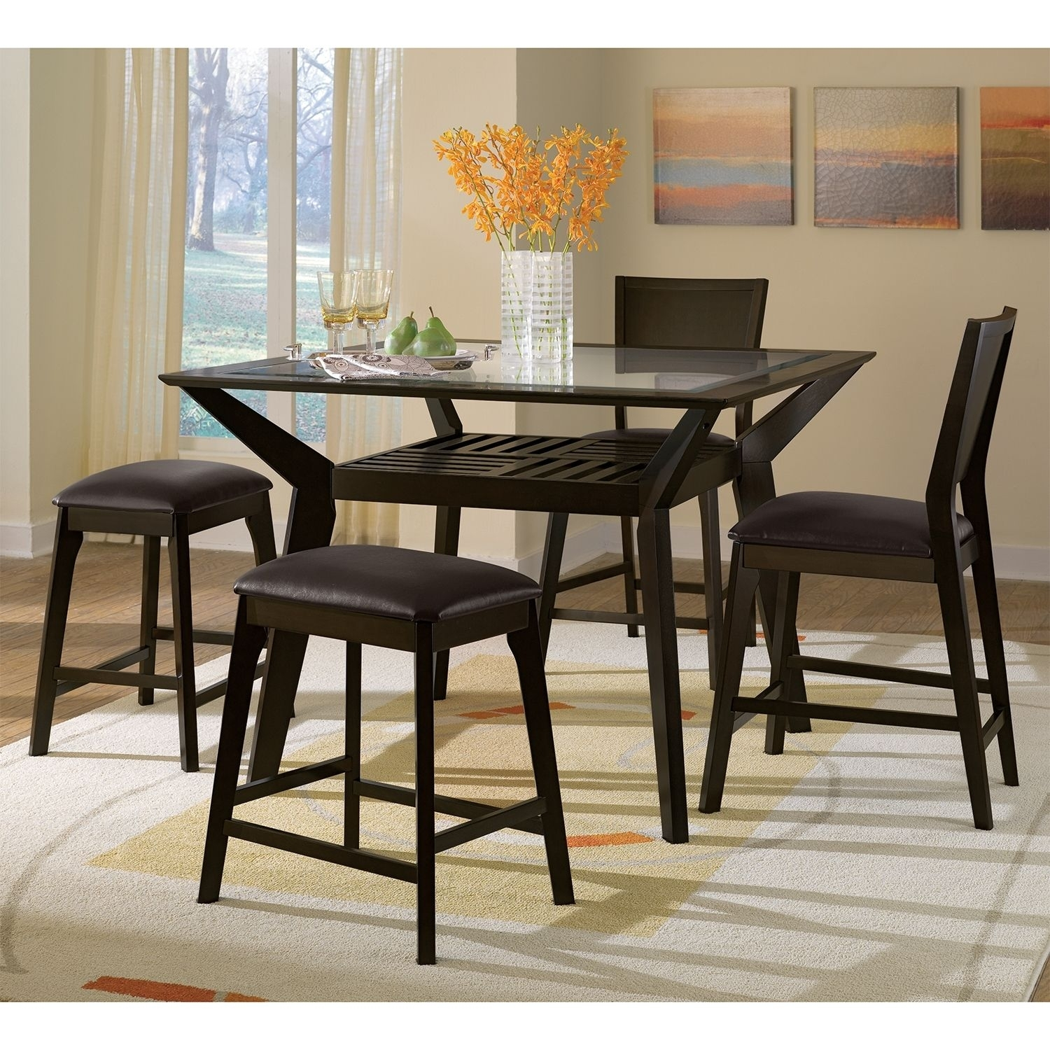 Mystic 5 Pc. Counter Height Dinette W/ 2 Backless Stools | Value Regarding Latest Norwood 6 Piece Rectangular Extension Dining Sets With Upholstered Side Chairs (Photo 10 of 20)