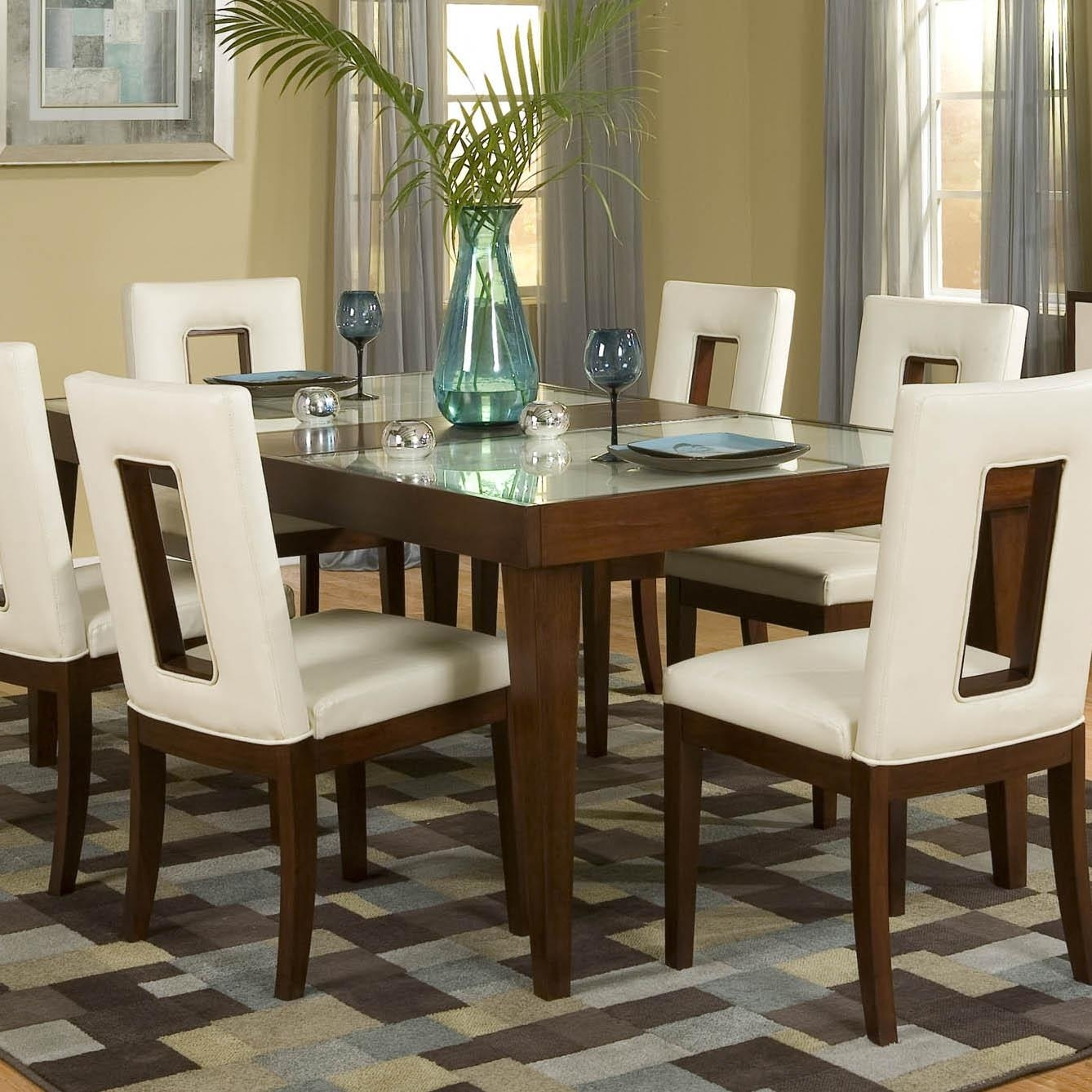 Najarian Enzo Dining Dtenzftcw Rectangular Leg Dining Table With 12 Intended For Most Recent Chandler 7 Piece Extension Dining Sets With Fabric Side Chairs (View 19 of 20)