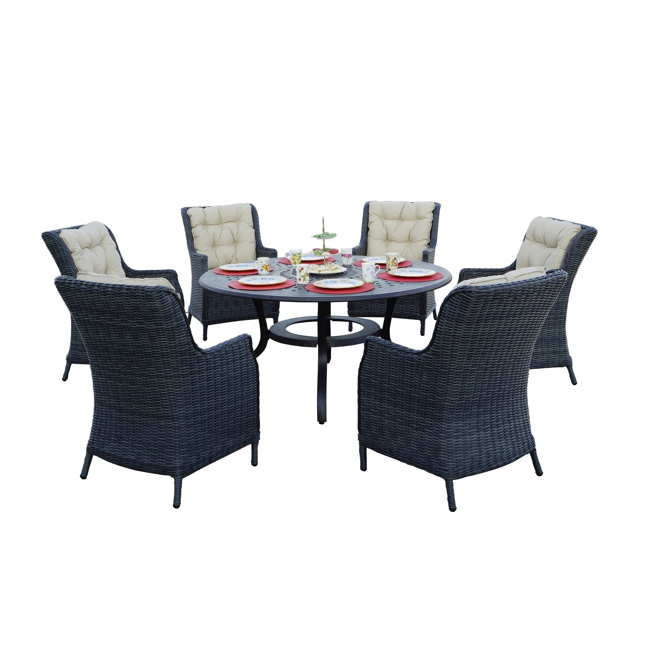 Napa 7 Piece Dining Set, 60'' Round – Free Shipping Today In 2018 Valencia 72 Inch 7 Piece Dining Sets (View 14 of 20)