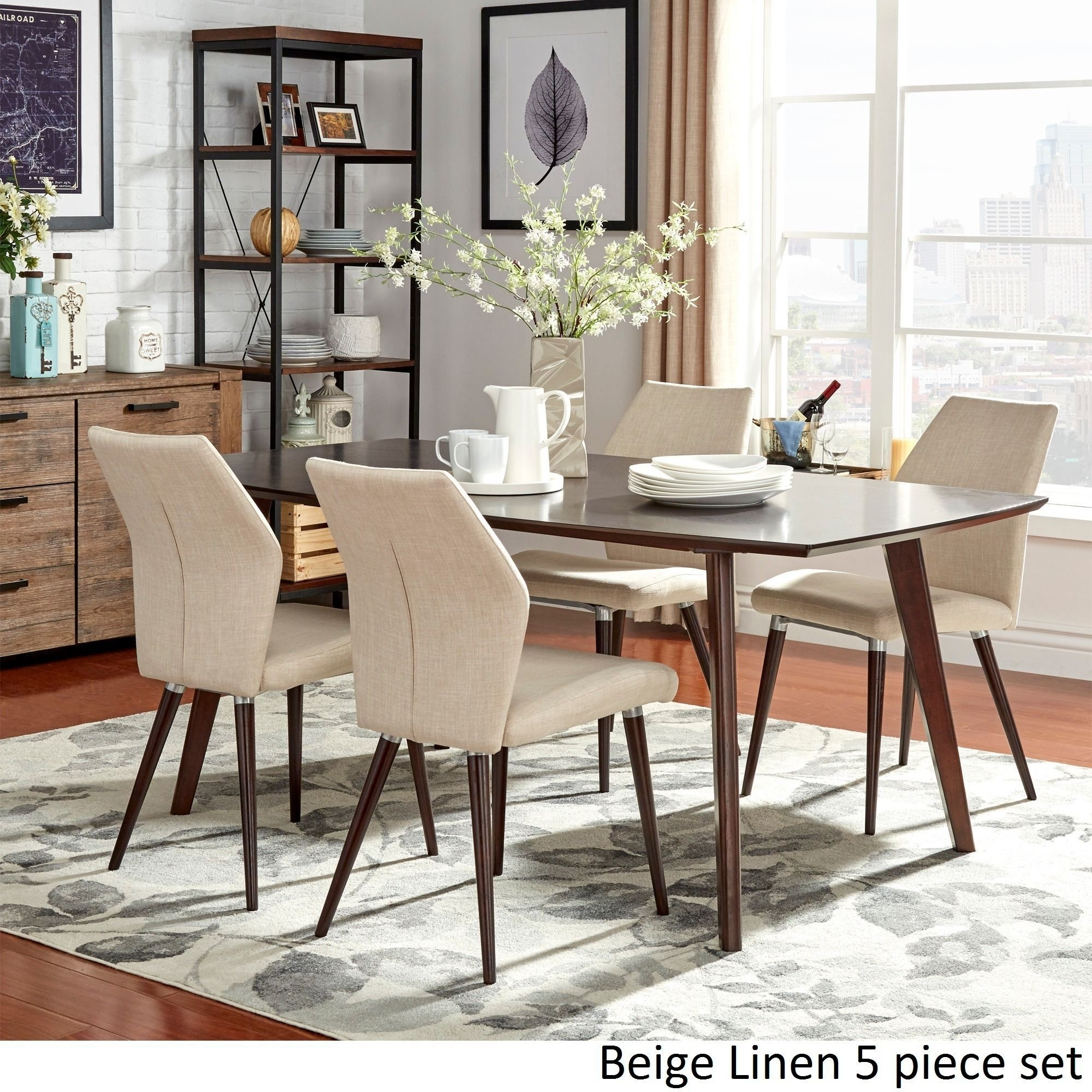 Napoli Round Dinette W/ Corona Beige Chairs With Most Popular Combs 5 Piece 48 Inch Extension Dining Sets With Mindy Side Chairs (Image 14 of 20)