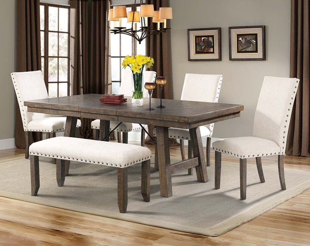 Natural Wood Dining Set, White Upholstery | Jax 5 Piece Dining Set Inside Most Up To Date Kirsten 5 Piece Dining Sets (Image 16 of 20)