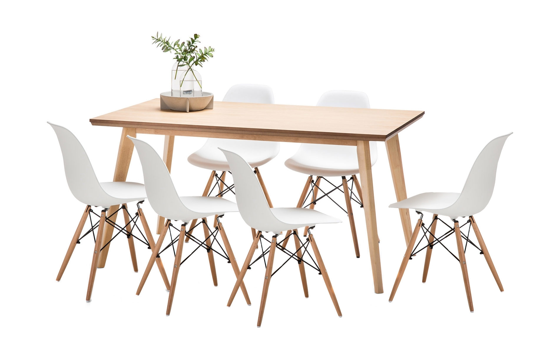 New Wyatt Dining Table Set With 6 Replica Eames Chairs | Ebay For Latest Wyatt Dining Tables (View 11 of 20)