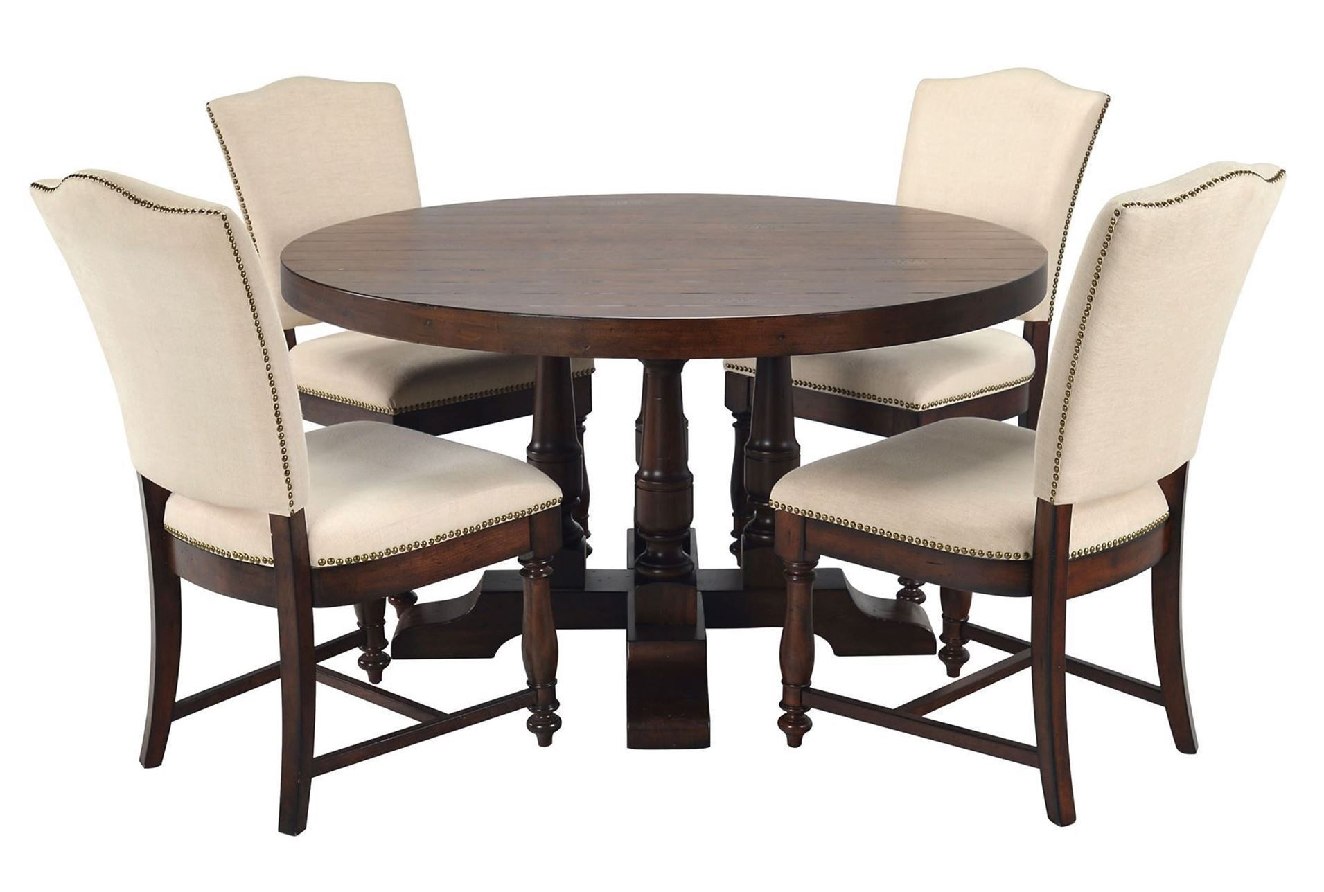 Nook // Arlo 5 Piece Round Upholstered Dining Set | Jayanand Home Intended For Most Popular Macie 5 Piece Round Dining Sets (Image 18 of 20)