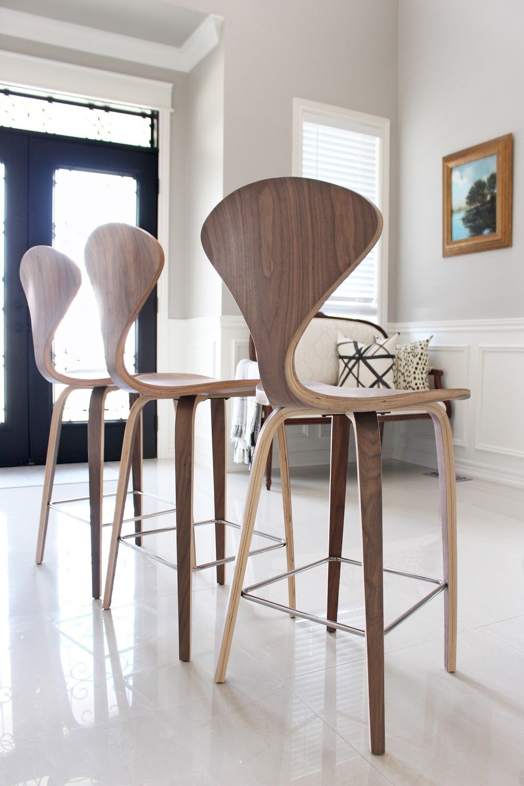 Norman Cherner Style Counter Stools In Walnut From Rove Concepts With Recent Laurent 7 Piece Counter Sets With Upholstered Counterstools (Photo 9 of 20)