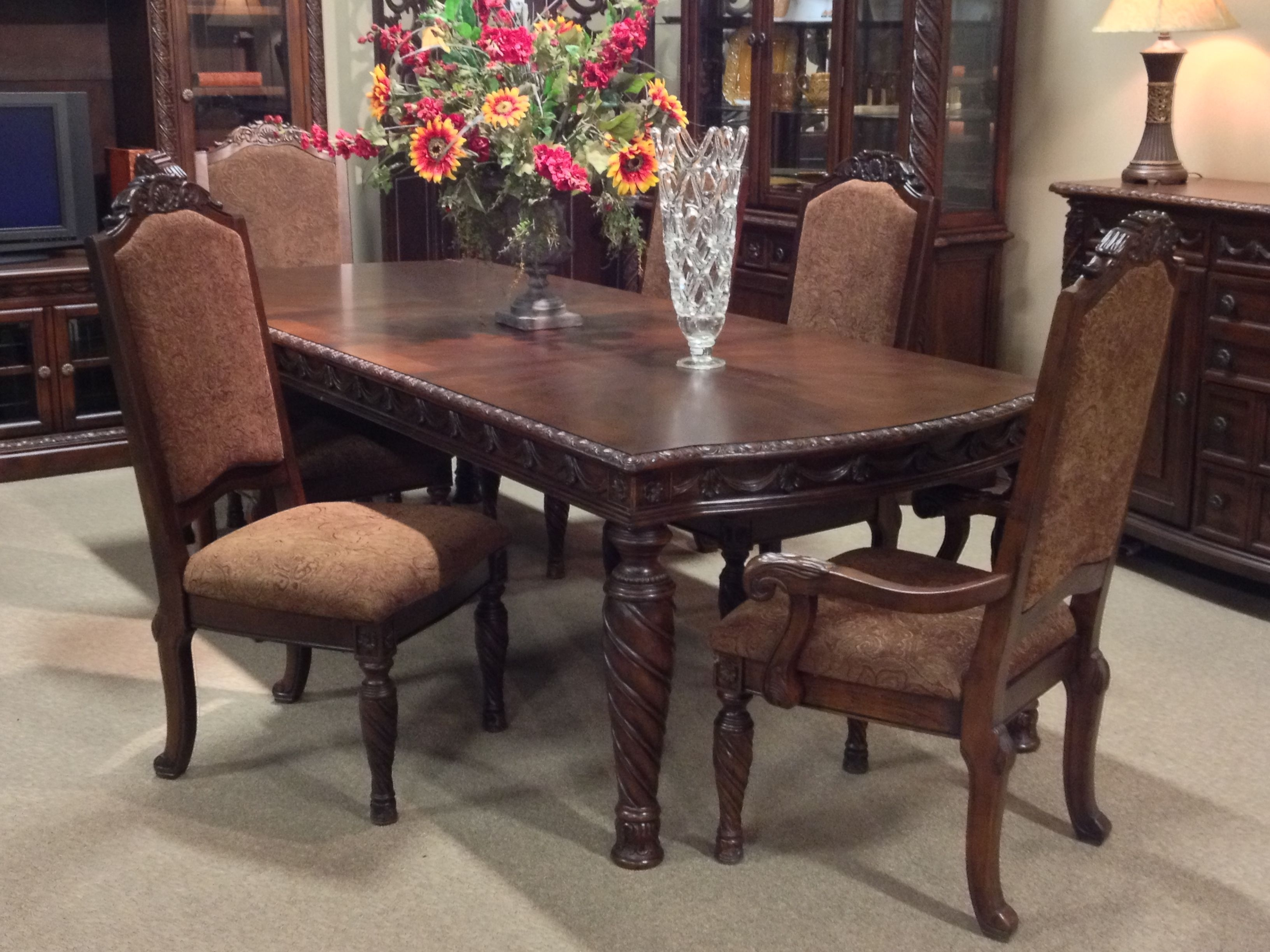 North Shore 7 Piece #dining Room Set At Ashley #furniture In For Most Recently Released Laurent 7 Piece Rectangle Dining Sets With Wood Chairs (View 7 of 20)