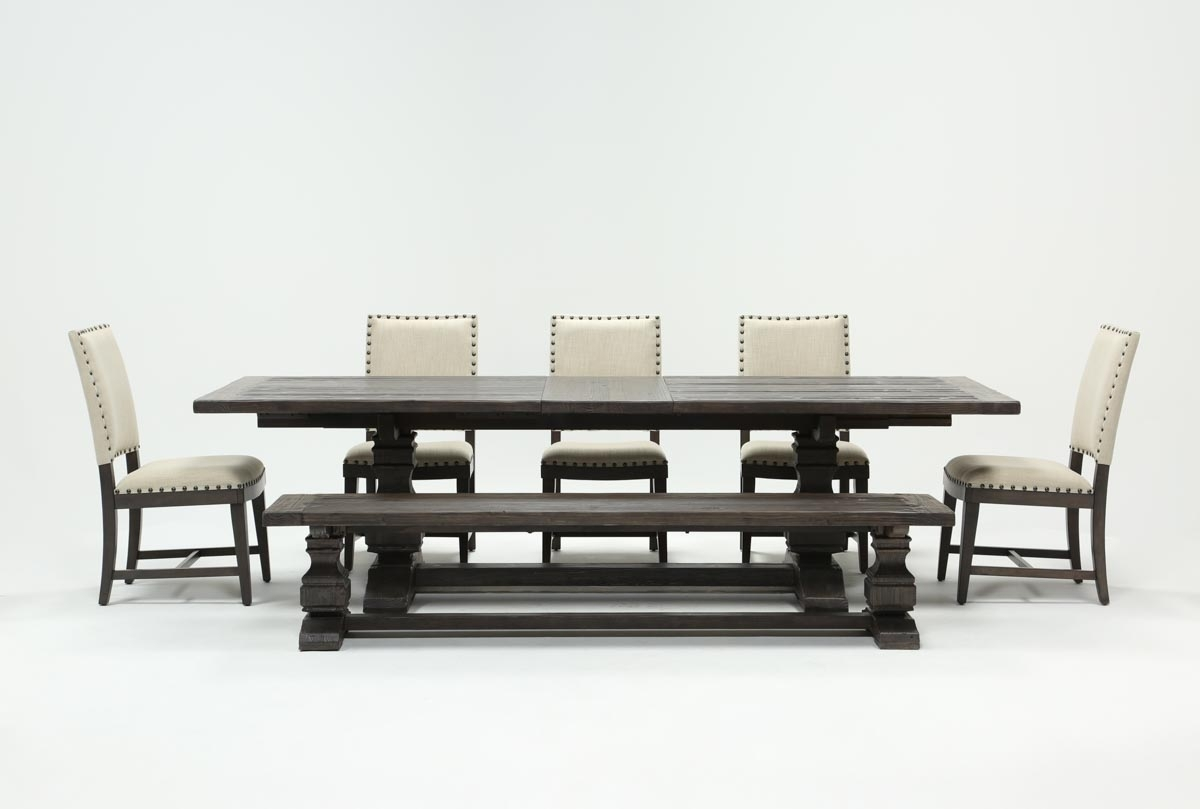 Norwood 7 Piece Rectangular Extension Dining Set With Bench & Uph Intended For Recent Norwood Rectangle Extension Dining Tables (Image 8 of 20)
