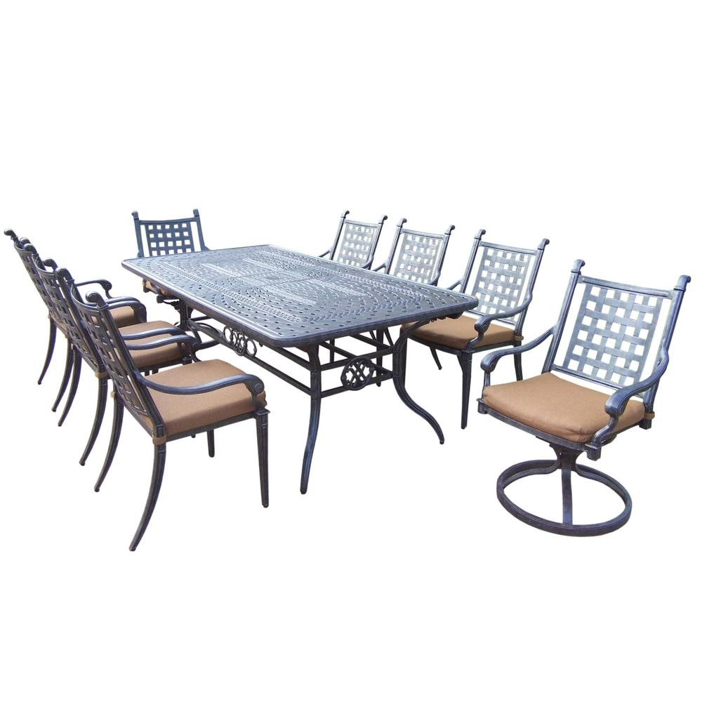 Null Belmont Extendable 9 Piece Rectangular Cast Aluminum Patio Dining Set With Sunbrella Canvas Teak Cushions Pertaining To Recent Outdoor Brasilia Teak High Dining Tables (View 20 of 20)