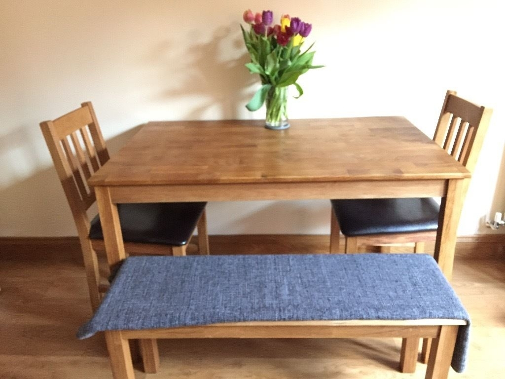 Oak Dining Table, Two Dining Chairs, One Bench | In Saffron Walden With Latest Walden Extension Dining Tables (View 13 of 20)