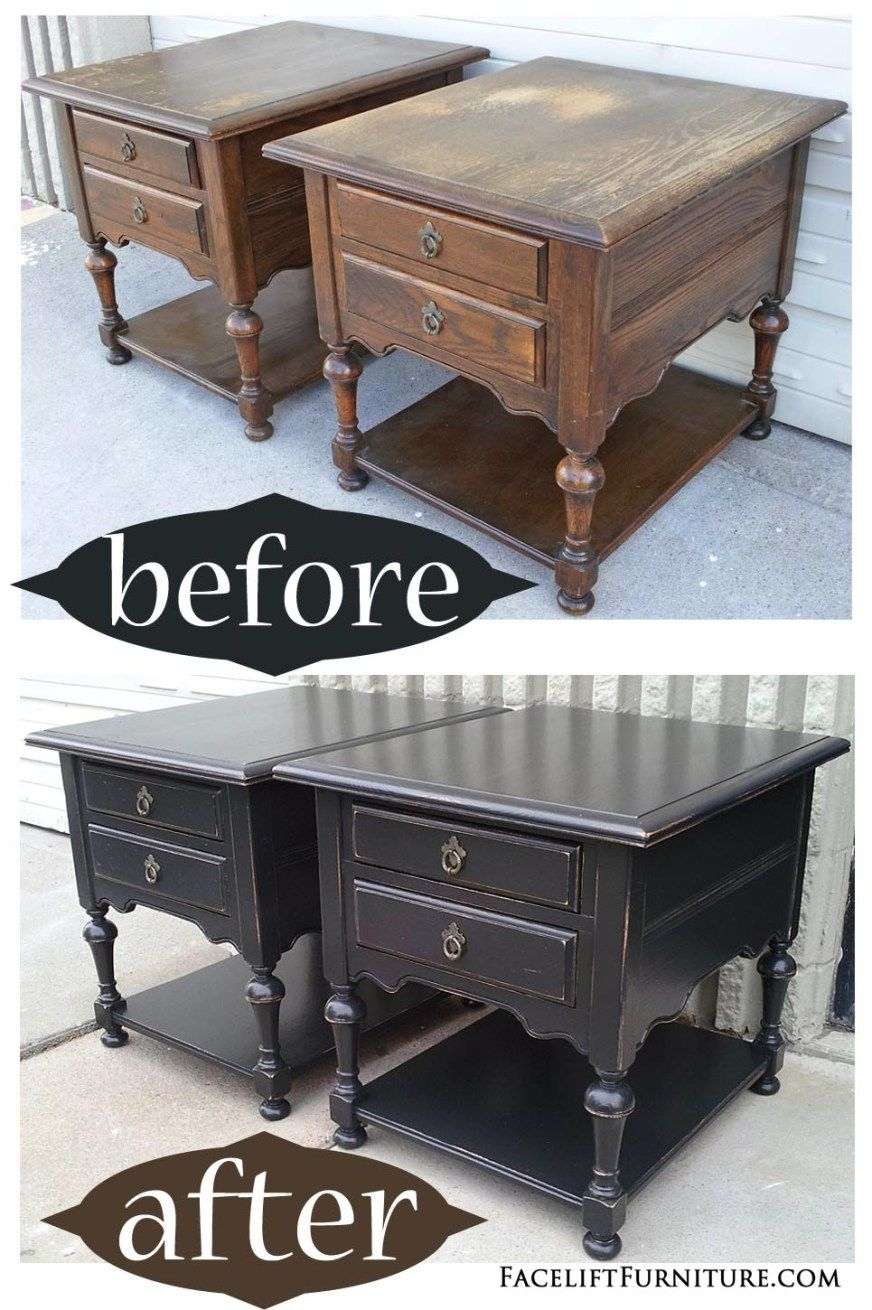 Oak End Tables In Distressed Black – Before & After | Home Decor Intended For Most Popular Washed Old Oak & Waxed Black Legs Bar Tables (View 7 of 20)