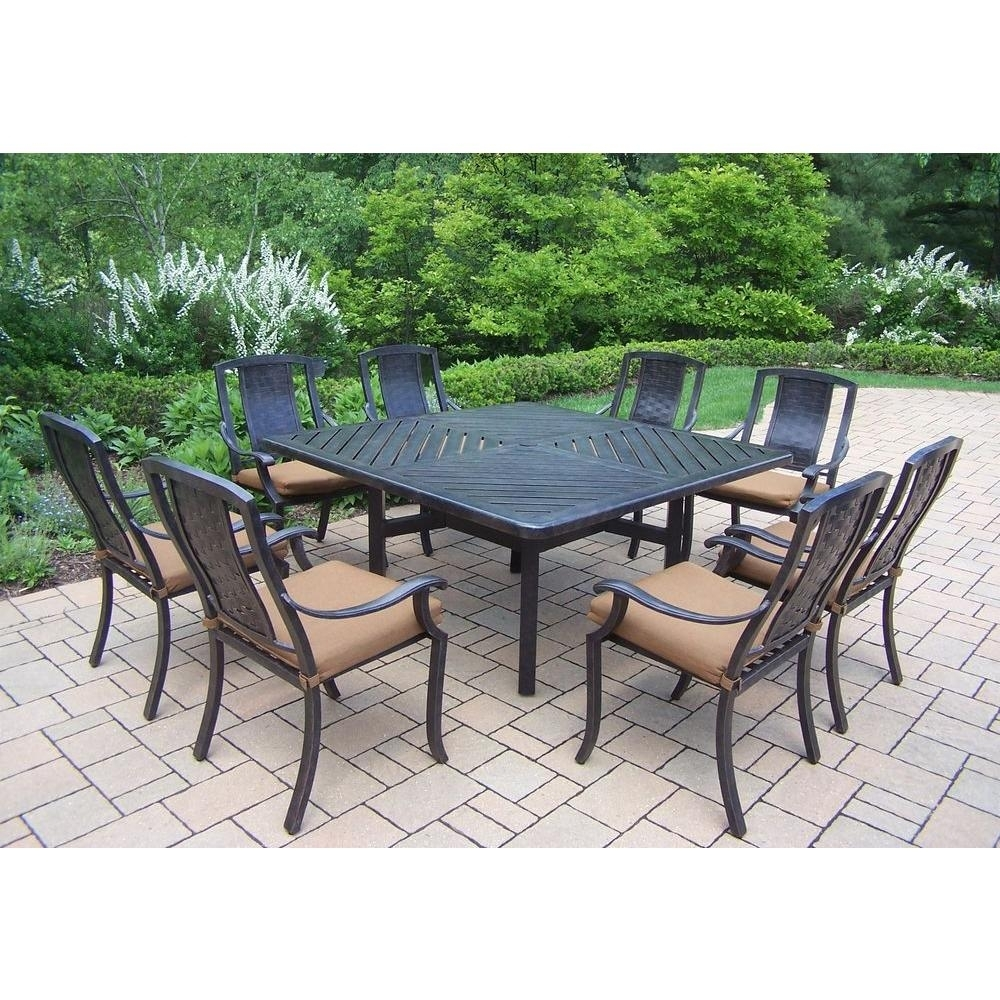 Oakland Living 9 Piece Square Aluminum Patio Dining Set With Sunbrella Canvas Teak Cushions Throughout Newest Outdoor Brasilia Teak High Dining Tables (View 19 of 20)