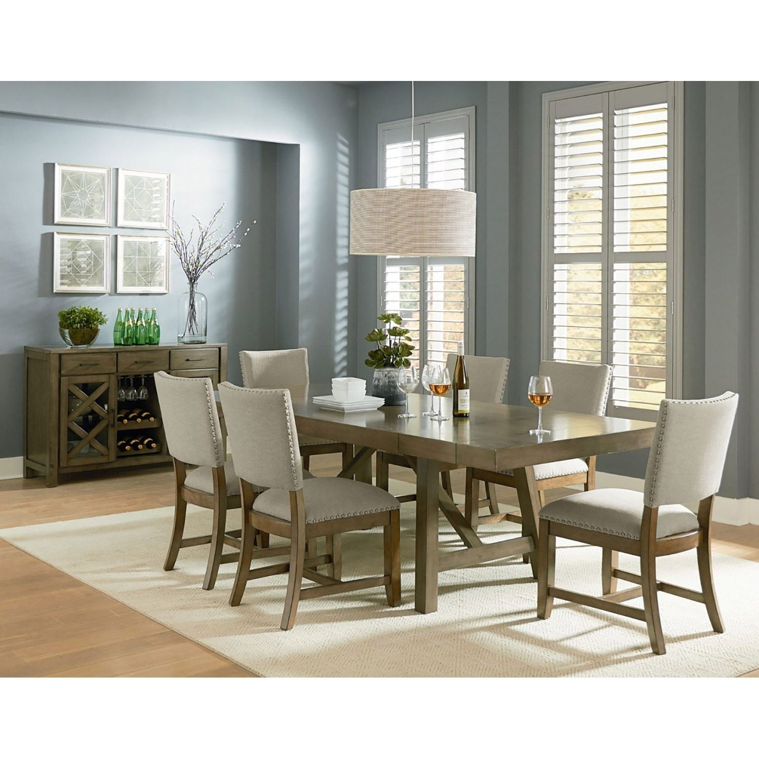 Omaha 7 Piece Dining Set 16681 7Pc | Standard Furniture 16681 1 For Most Recently Released Chandler 7 Piece Extension Dining Sets With Fabric Side Chairs (View 6 of 20)
