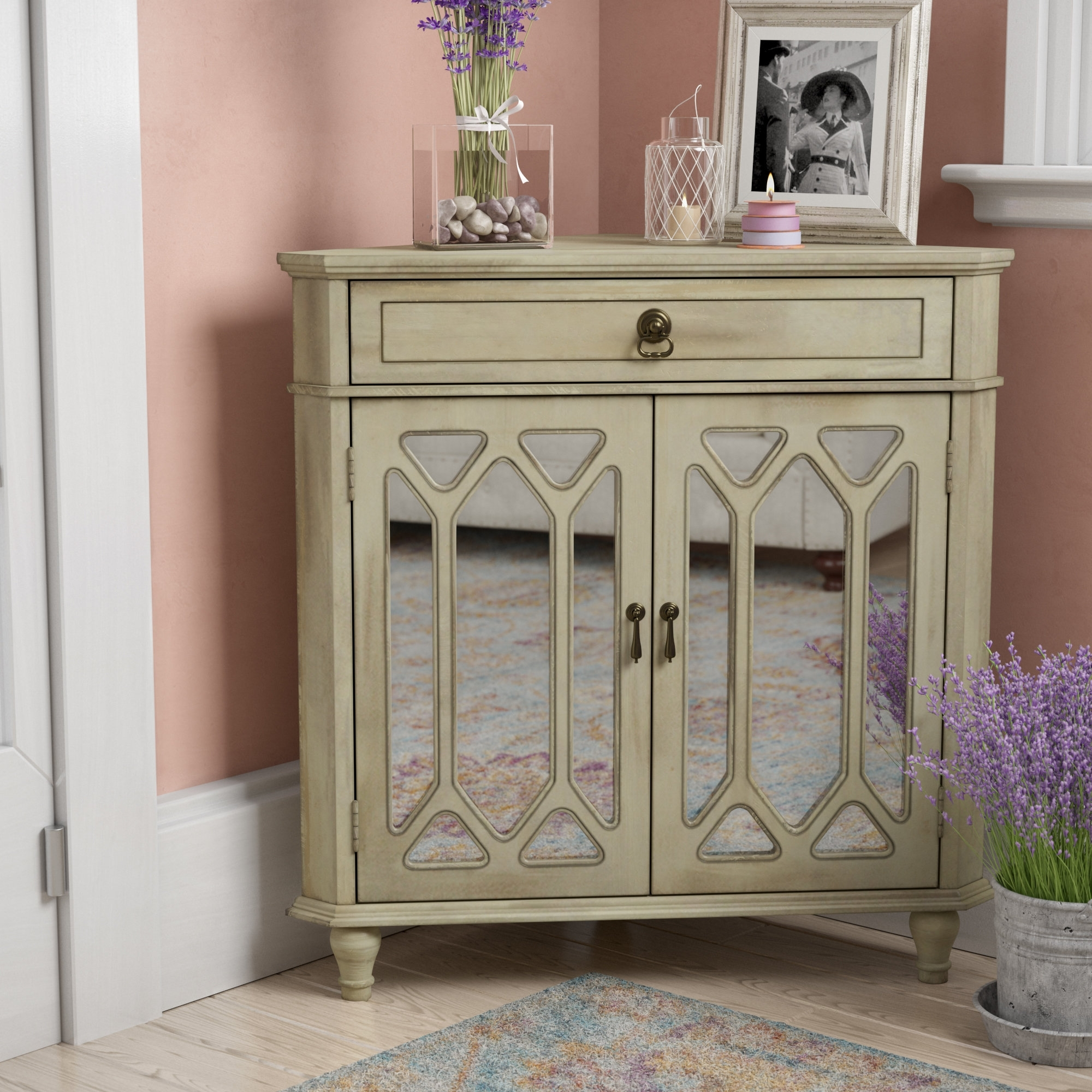 One Allium Way Carly 1 Drawer 2 Door Accent Cabinet & Reviews | Wayfair Regarding 2017 Carly Triangle Tables (View 8 of 20)
