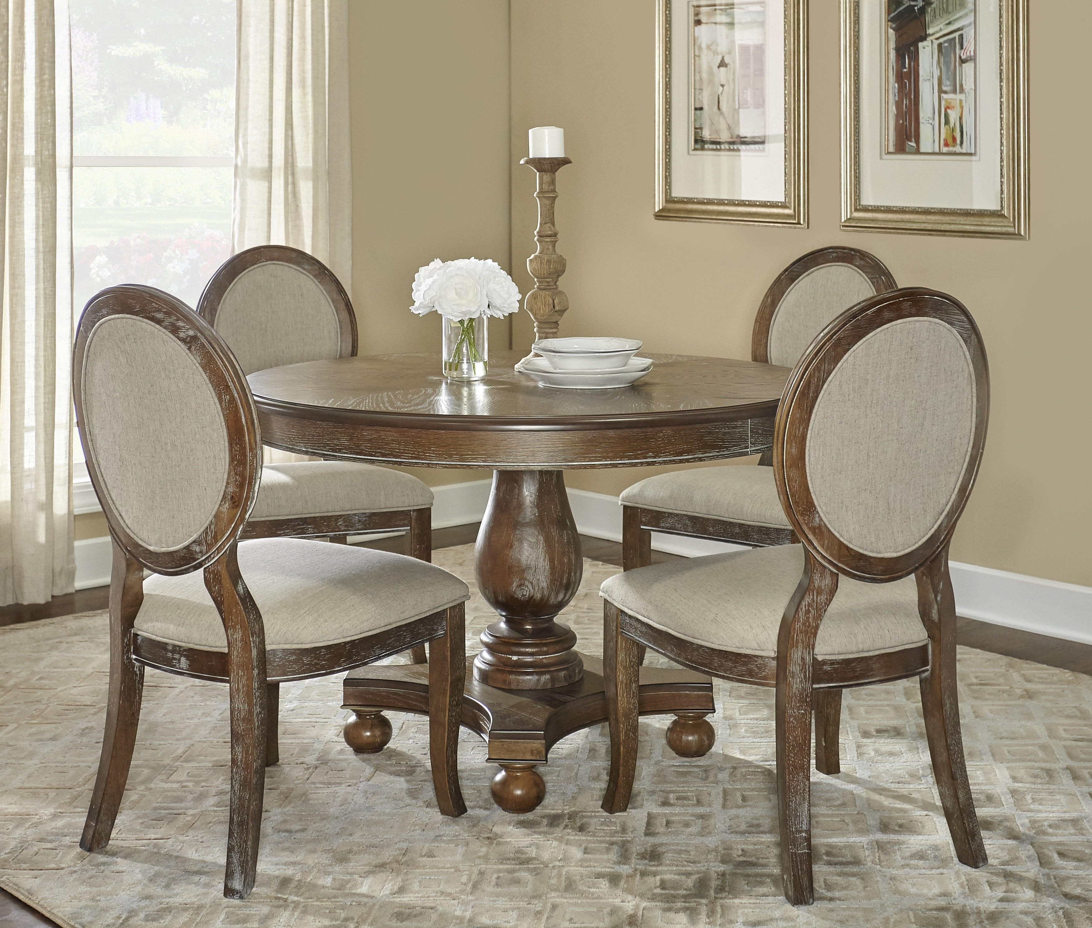 One Allium Way Hallows Creek 5 Piece Dining Set & Reviews | Wayfair Within 2017 Caira Black 7 Piece Dining Sets With Upholstered Side Chairs (Image 13 of 20)