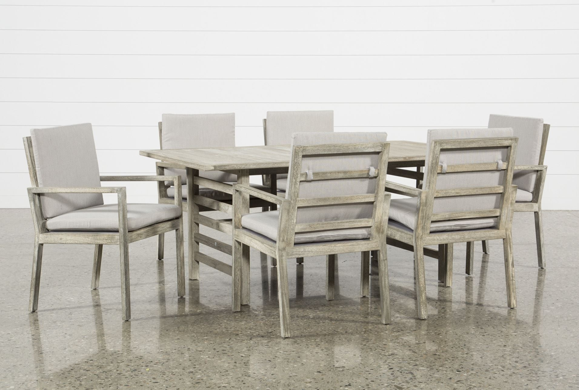 Outdoor Pompeii 7 Piece Dining Set, Grey | Pompeii And Products With Regard To Most Popular Caira 7 Piece Rectangular Dining Sets With Diamond Back Side Chairs (View 6 of 20)