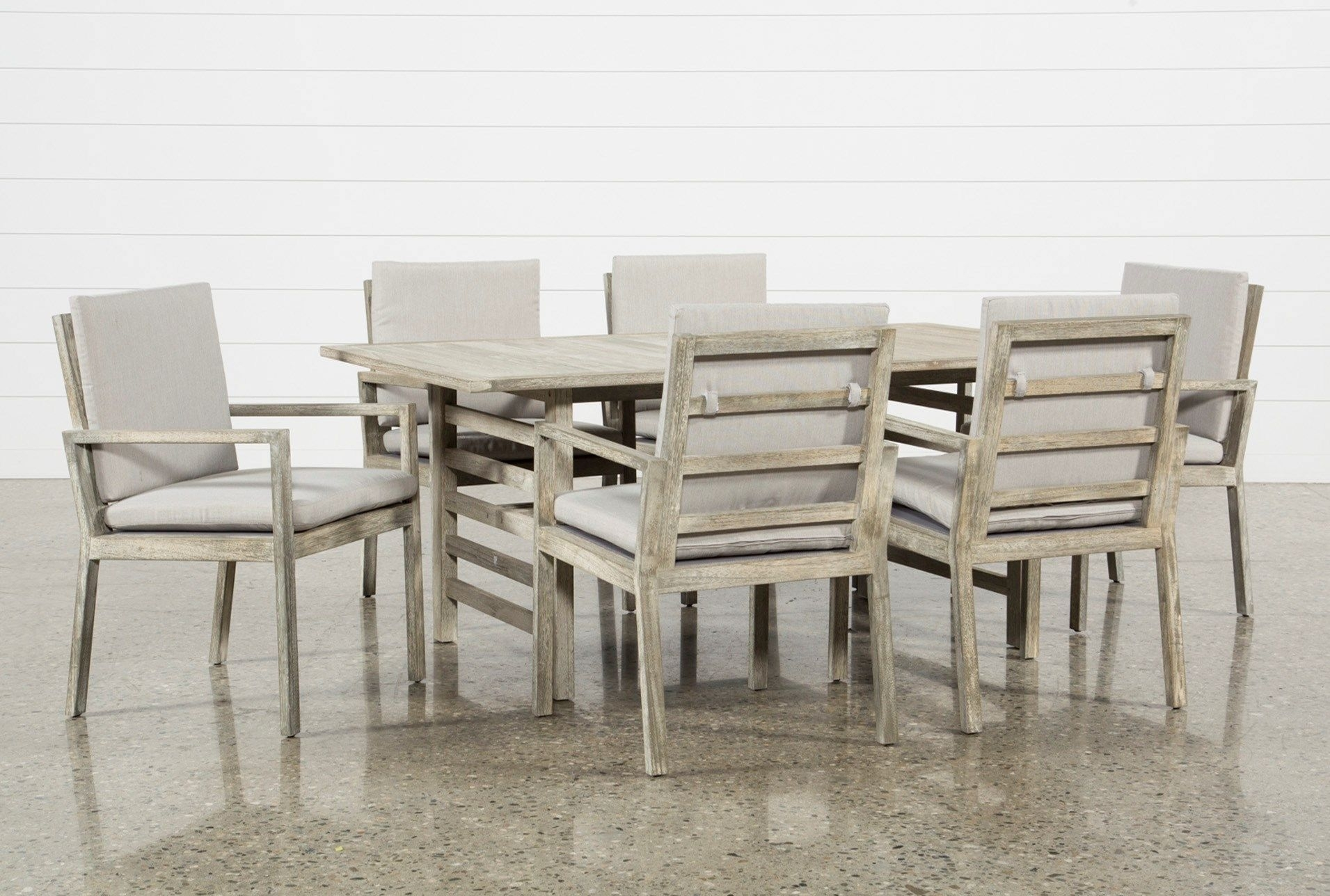 Outdoor Pompeii 7 Piece Dining Set, Grey | Pompeii, Dining And For Newest Caden 6 Piece Rectangle Dining Sets (Image 14 of 20)