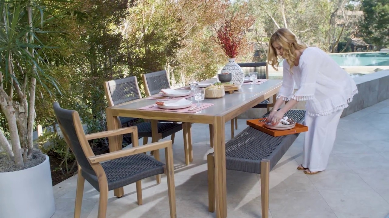 Outdoor Sienna Dining Table With 4 Arm Chairs + 1 Bench | Living Pertaining To Most Recent Outdoor Sienna Dining Tables (View 2 of 20)