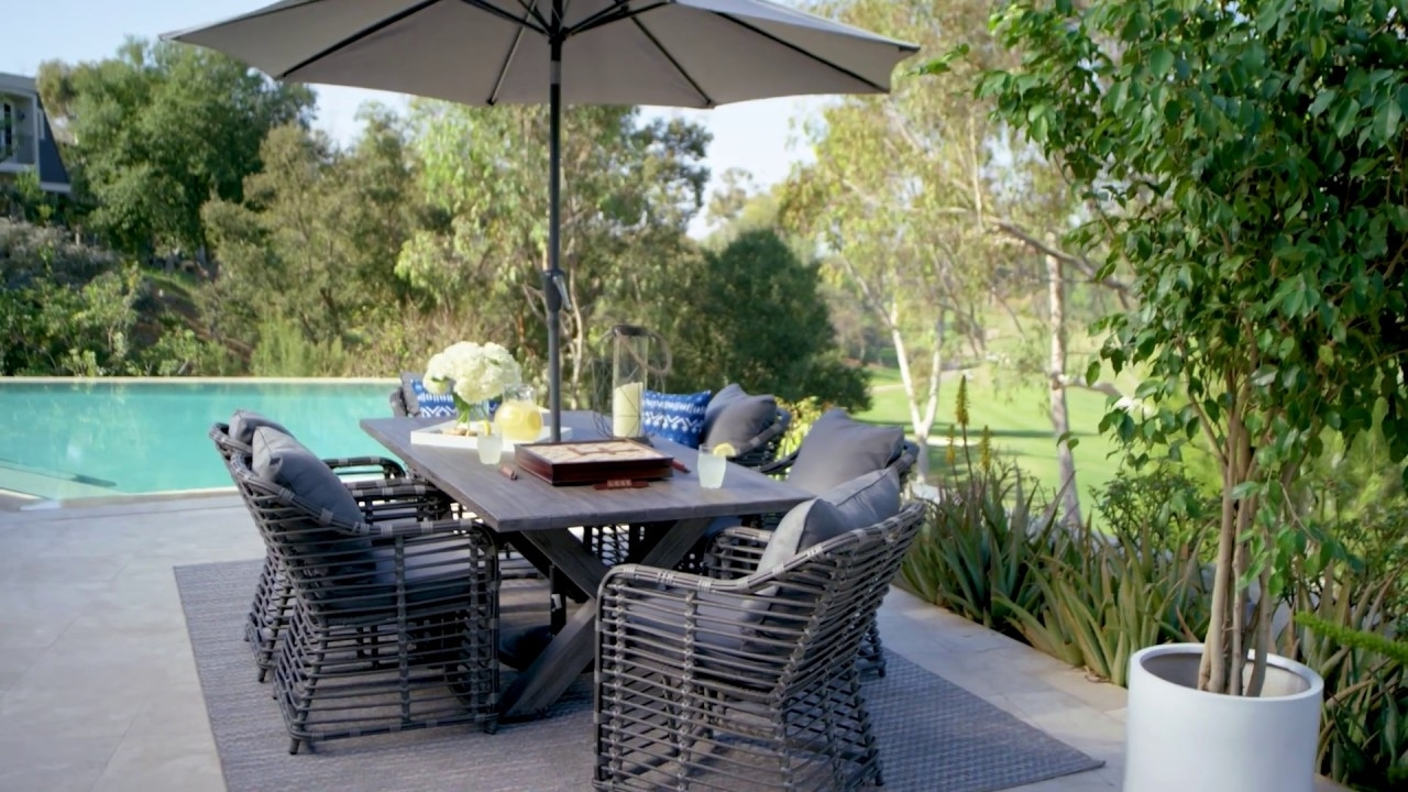 Outdoor Tortuga 7 Piece Dining Set With Koro Chair | Living Spaces For Most Up To Date Outdoor Tortuga Dining Tables (View 19 of 20)