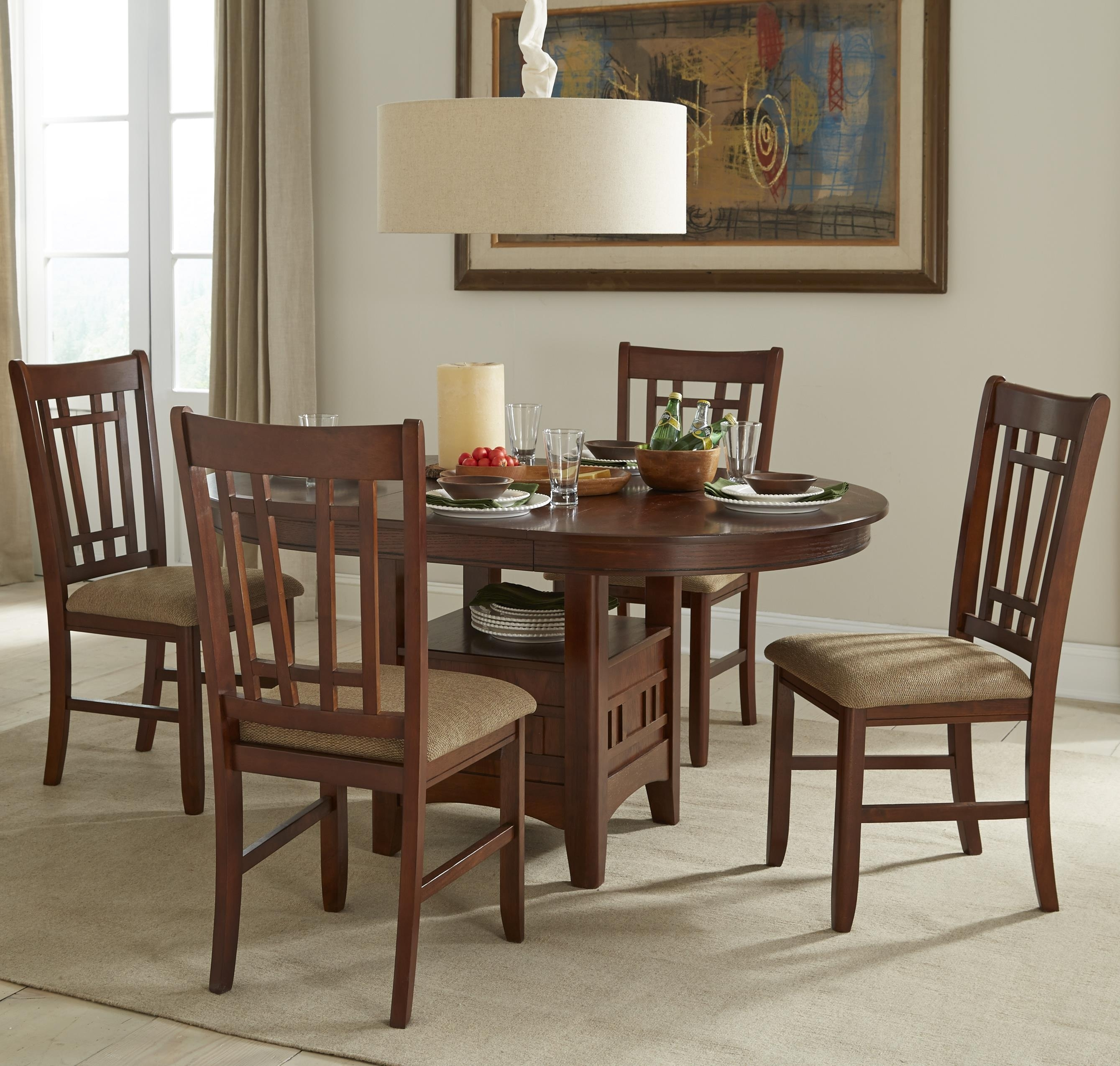 Oval Dining Table Set With Cushioned Side Chairsintercon Regard Inside Newest Craftsman 9 Piece Extension Dining Sets With Uph Side Chairs (Image 14 of 20)