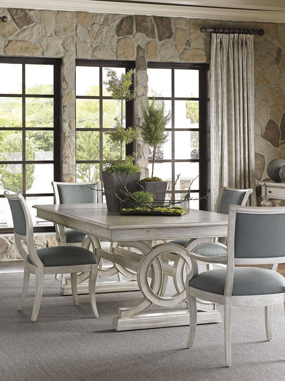 Oyster Bay Montauk Rectangular Dining Table With Slate Blue Within Current Candice Ii 7 Piece Extension Rectangular Dining Sets With Uph Side Chairs (Image 14 of 20)