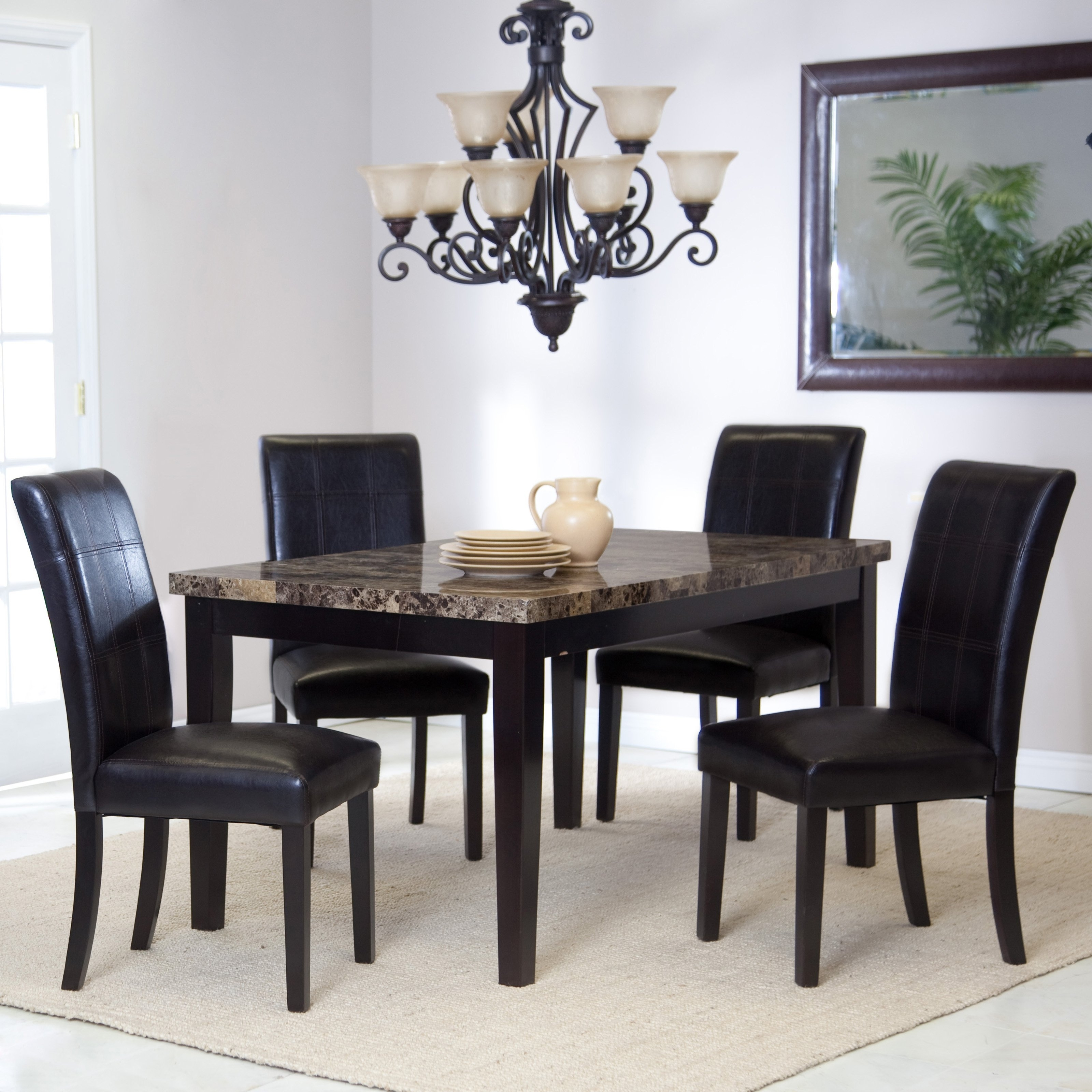 Palazzo 5 Piece Dining Set | Hayneedle Pertaining To Most Recent Palazzo 3 Piece Dining Table Sets (Image 15 of 20)
