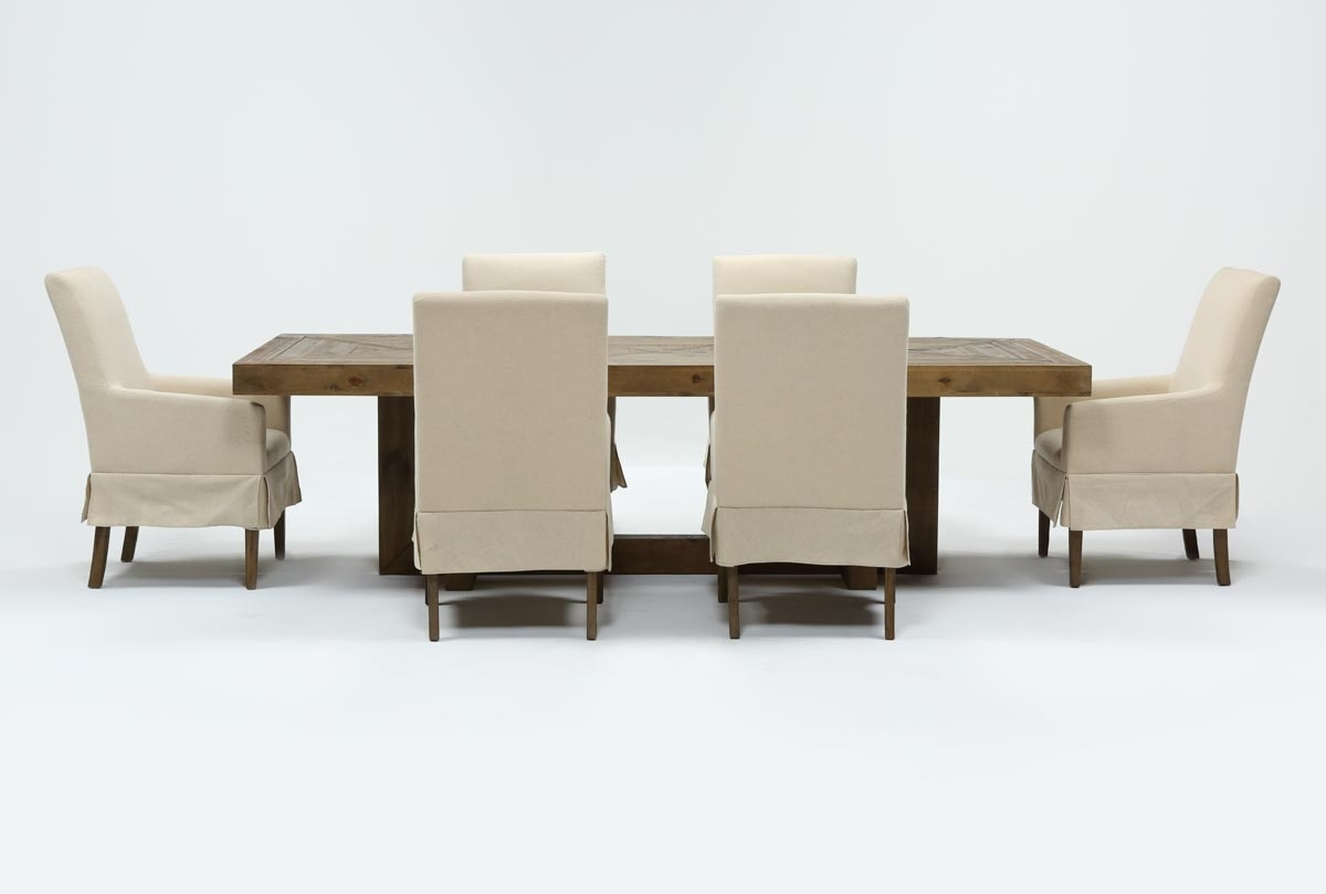 Palazzo 7 Piece Dining Set With Mindy Slipcovered Side Chairs Within Best And Newest Palazzo 7 Piece Dining Sets With Mindy Slipcovered Side Chairs (Photo 1 of 20)