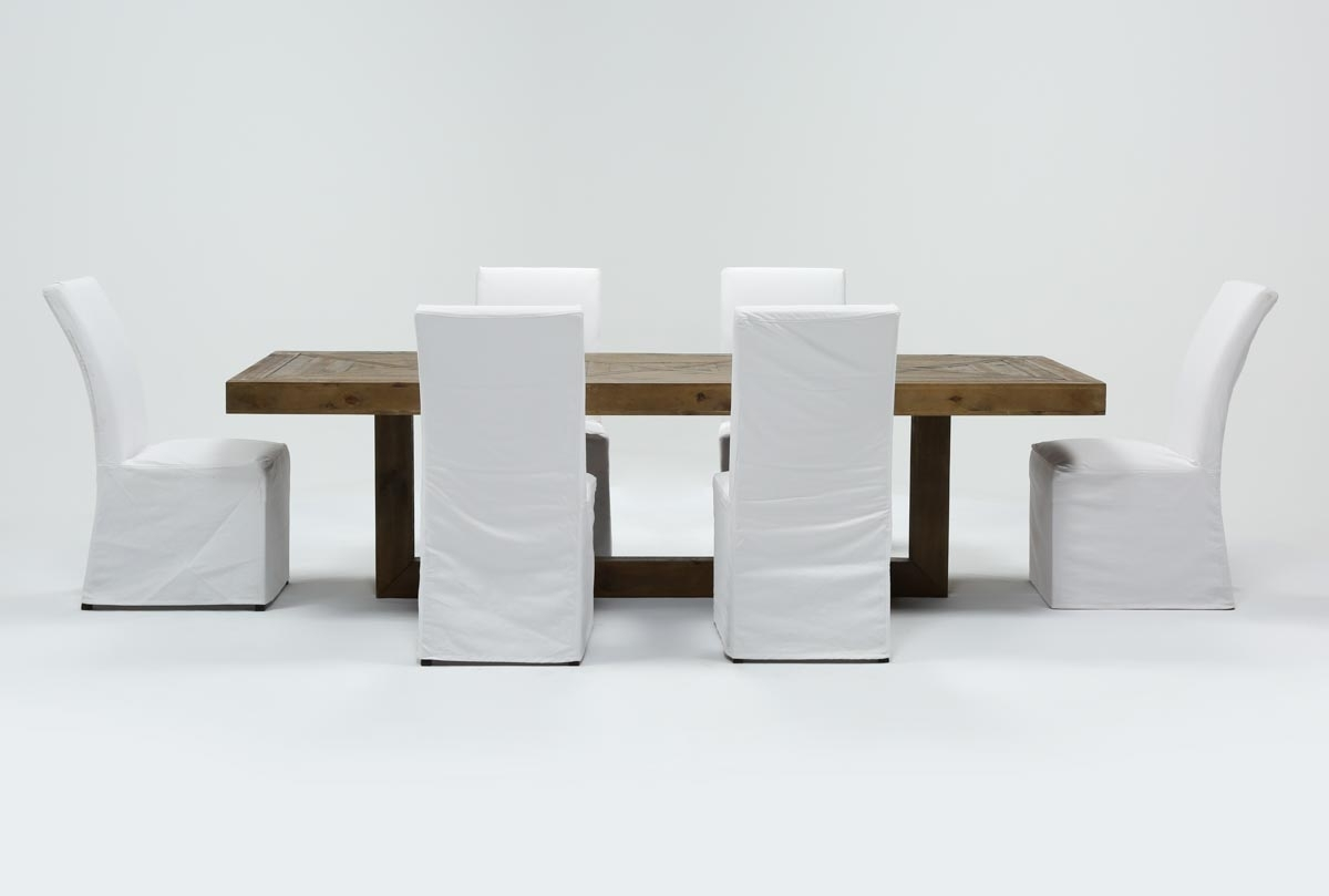 Palazzo 7 Piece Dining Set With Pearson White Side Chairs | Living Pertaining To Most Recently Released Palazzo 7 Piece Dining Sets With Mindy Slipcovered Side Chairs (Image 16 of 20)