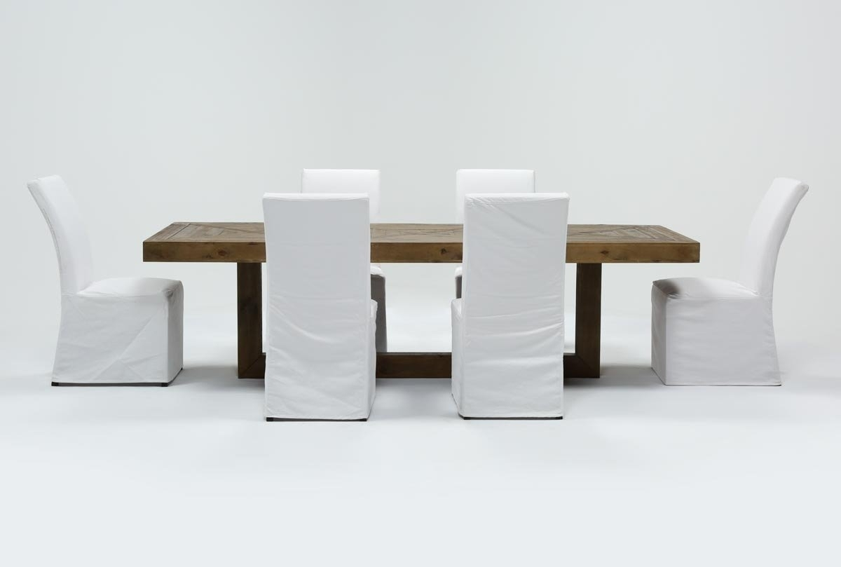 Palazzo 7 Piece Dining Set With Pearson White Side Chairs | Living Within Recent Palazzo 6 Piece Dining Set With Mindy Slipcovered Side Chairs (Image 14 of 20)