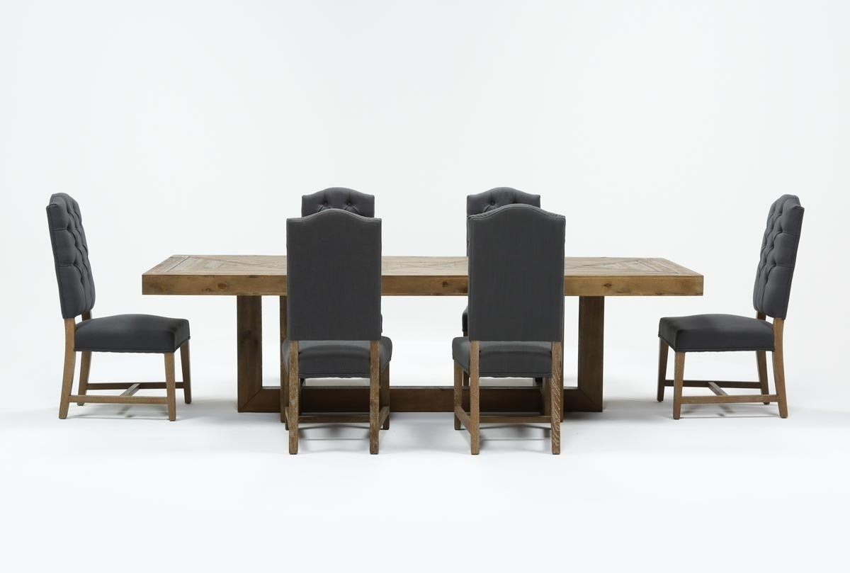 Palazzo 7 Piece Rectangle Dining Set With Joss Side Chairs | Living In Most Recent Combs 7 Piece Dining Sets With  Mindy Slipcovered Chairs (Image 18 of 20)