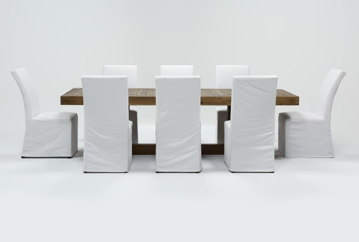 Palazzo 9 Piece Dining Set With Pearson White Side Chairs | Living For Most Recent Palazzo 6 Piece Dining Set With Mindy Slipcovered Side Chairs (Photo 9 of 20)