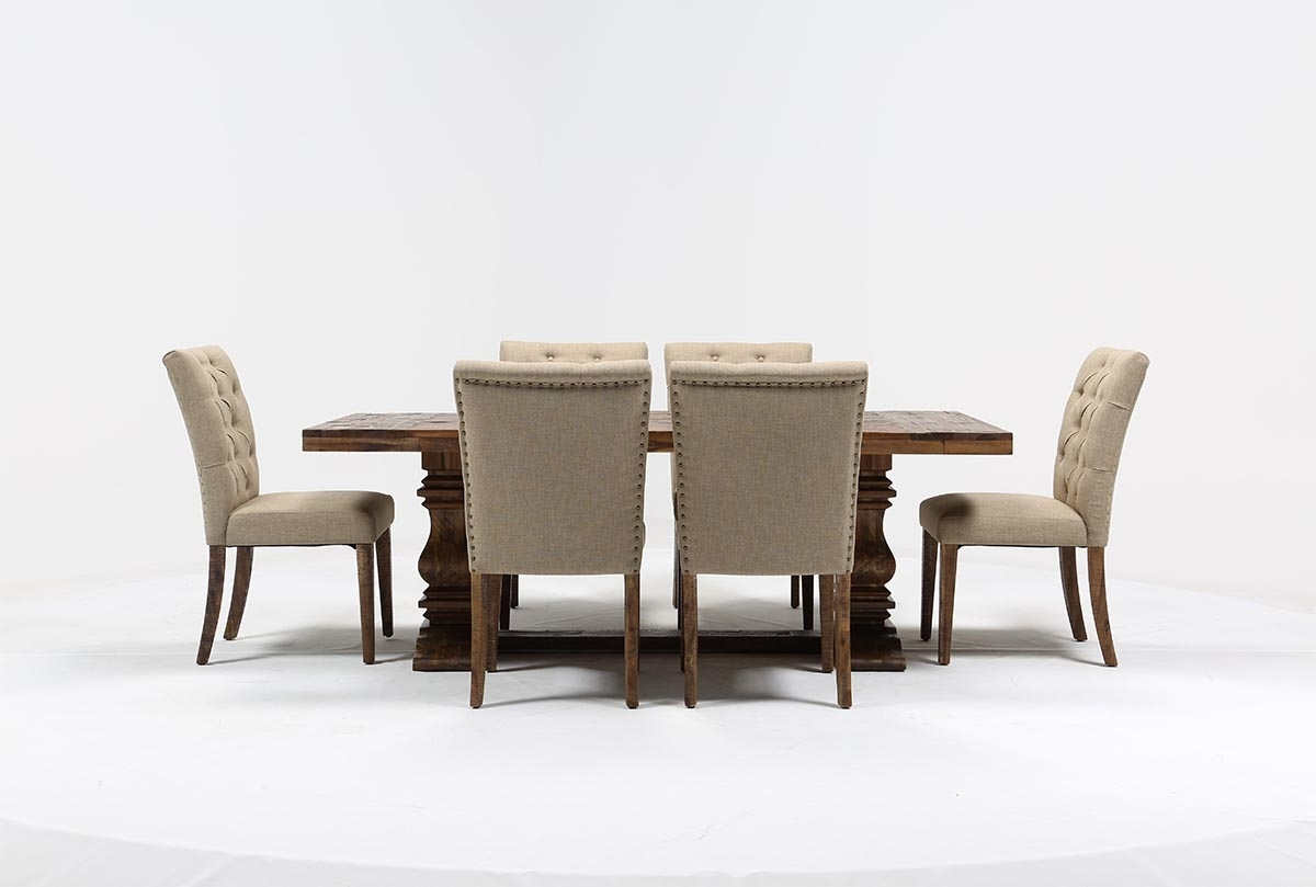 Partridge 7 Piece Dining Set | Living Spaces Pertaining To Best And Newest Combs 5 Piece Dining Sets With  Mindy Slipcovered Chairs (Photo 15 of 20)