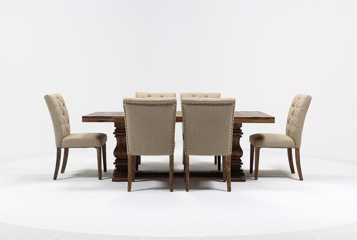 Partridge 7 Piece Dining Set | Living Spaces With Most Current Combs 7 Piece Dining Sets With  Mindy Slipcovered Chairs (Photo 10 of 20)