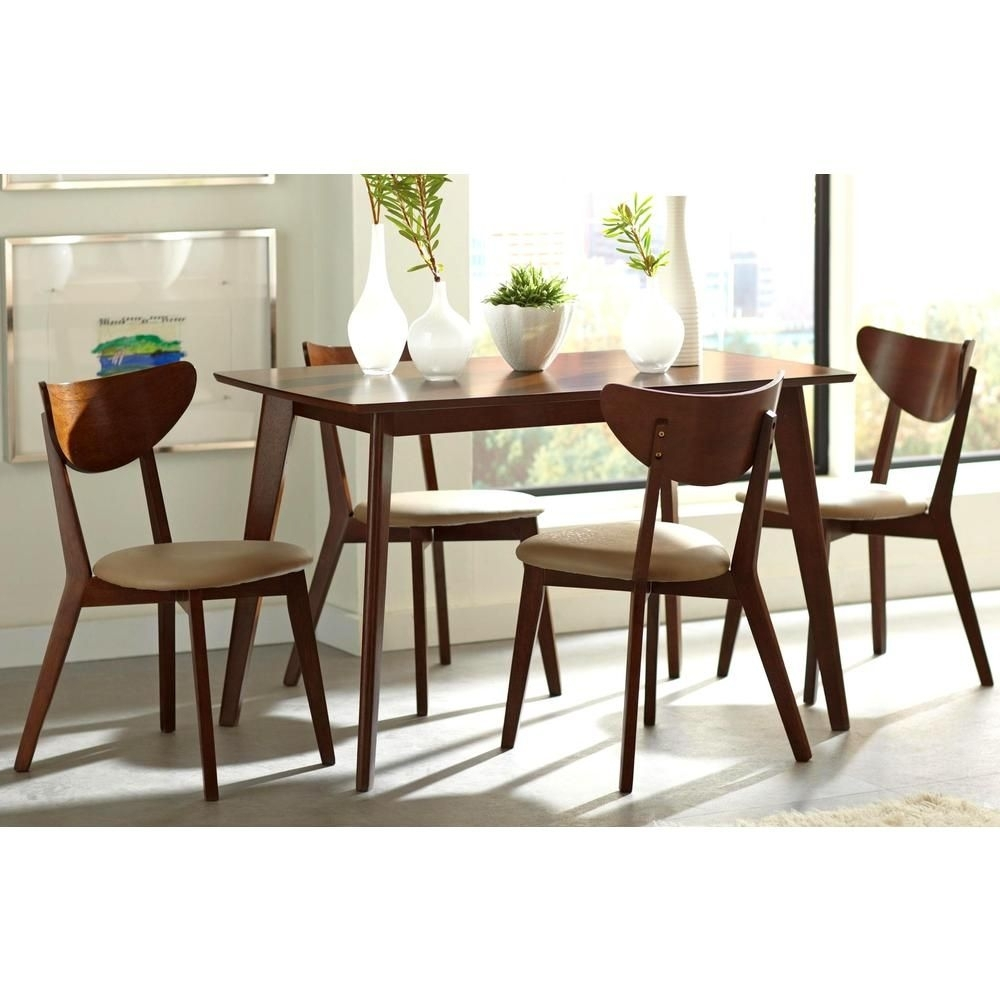 Peony Retro Walnut And Leatherette 5 Piece Dining Set – Overstock With Regard To 2017 Kirsten 5 Piece Dining Sets (Photo 12 of 20)