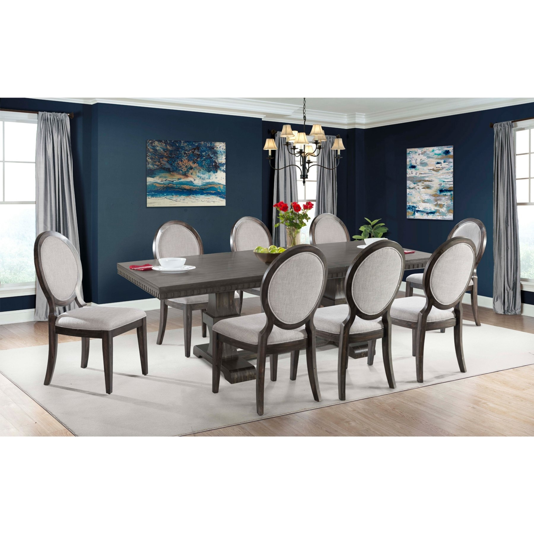 Picket House Furnishings Steele 9 Piece Extension Dining Table Set Inside Newest Candice Ii 7 Piece Extension Rectangular Dining Sets With Uph Side Chairs (Image 15 of 20)