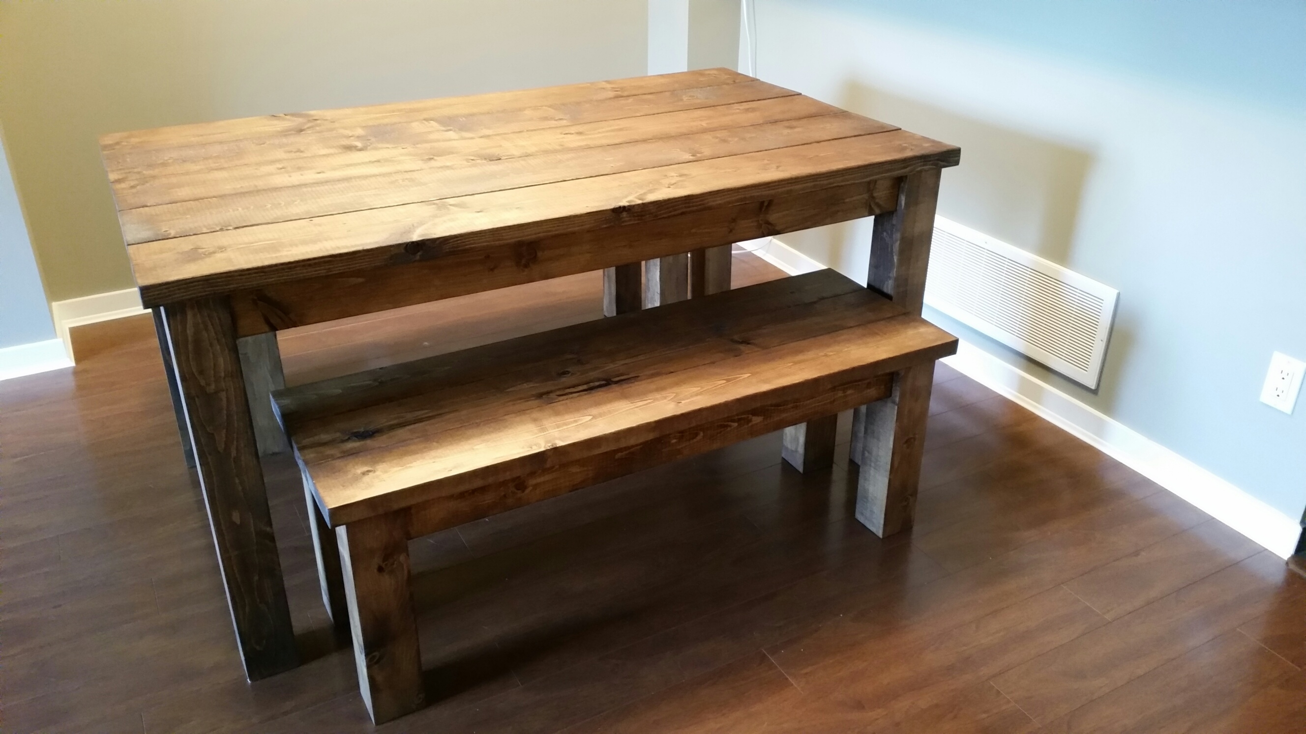 Pine Kitchen Table And Bench Set • Table Setting Design Throughout Recent Hyland 5 Piece Counter Sets With Bench (View 20 of 20)