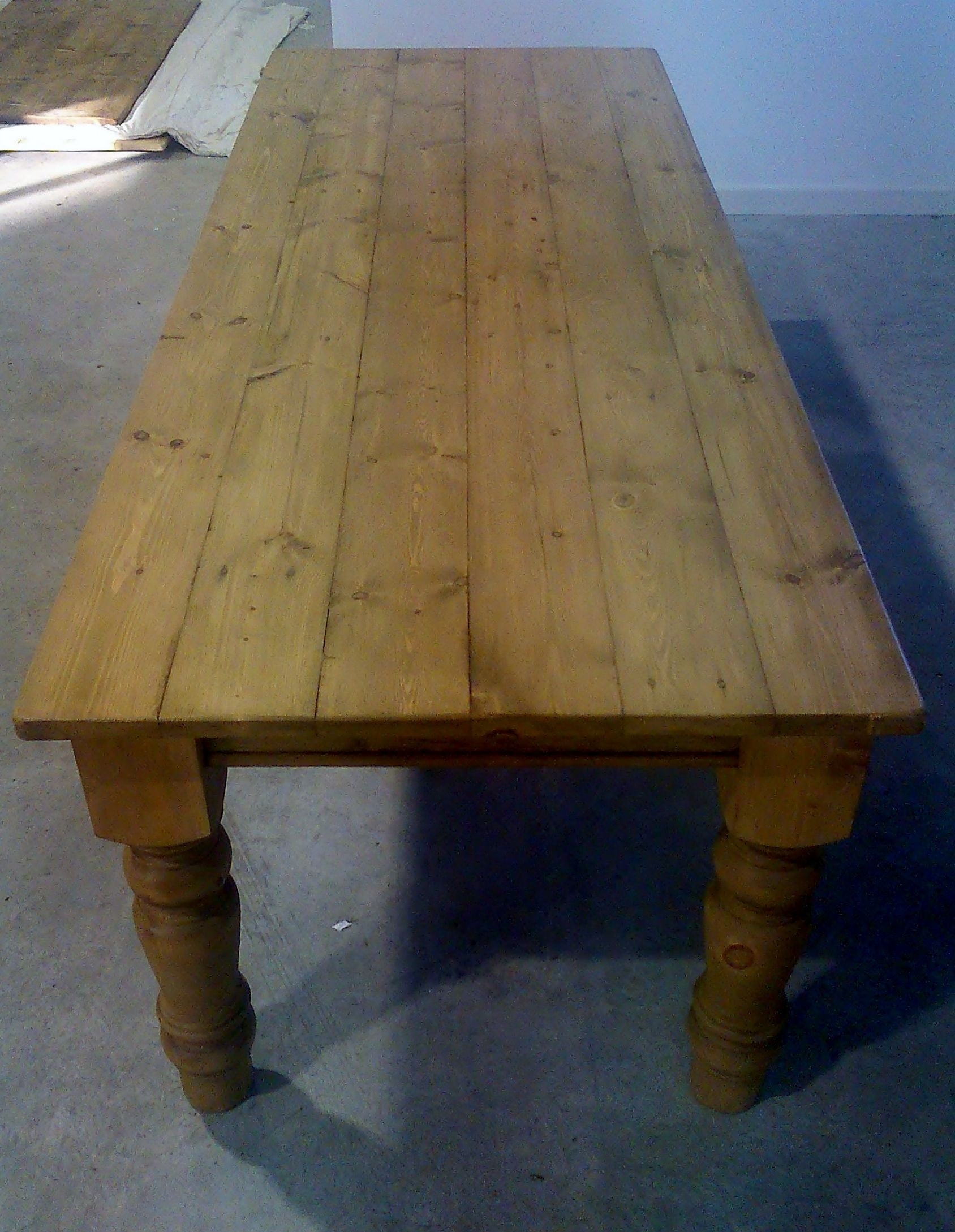 Plank Top Reclaimed Pine Farmhouse Table 8Ft X 3Ft Waxed On 5Inch Within Recent Washed Old Oak & Waxed Black Legs Bar Tables (View 20 of 20)