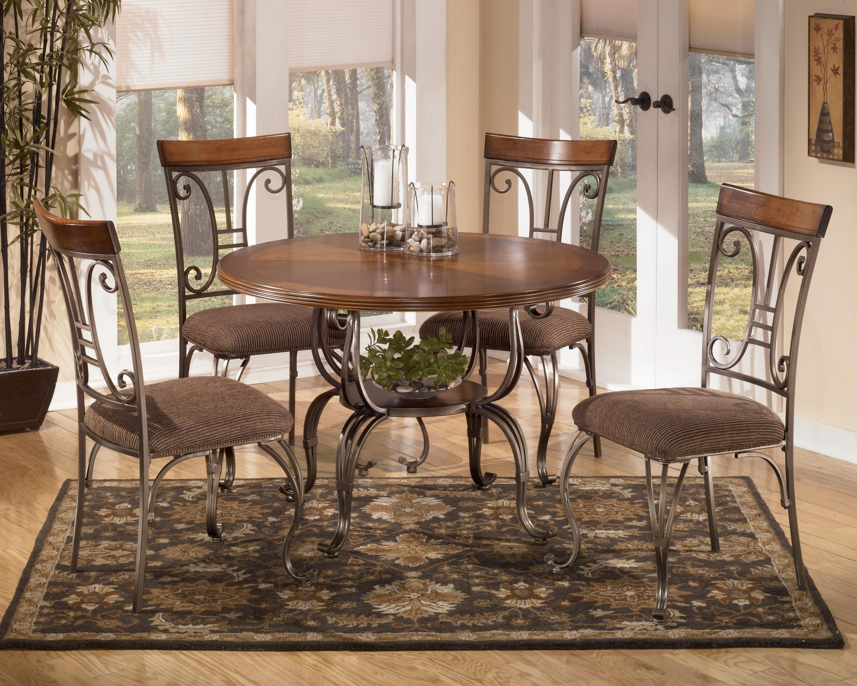 Plentywood 5 Piece Round Dining Table Setsignature Design For Recent Candice Ii 5 Piece Round Dining Sets With Slat Back Side Chairs (View 11 of 20)