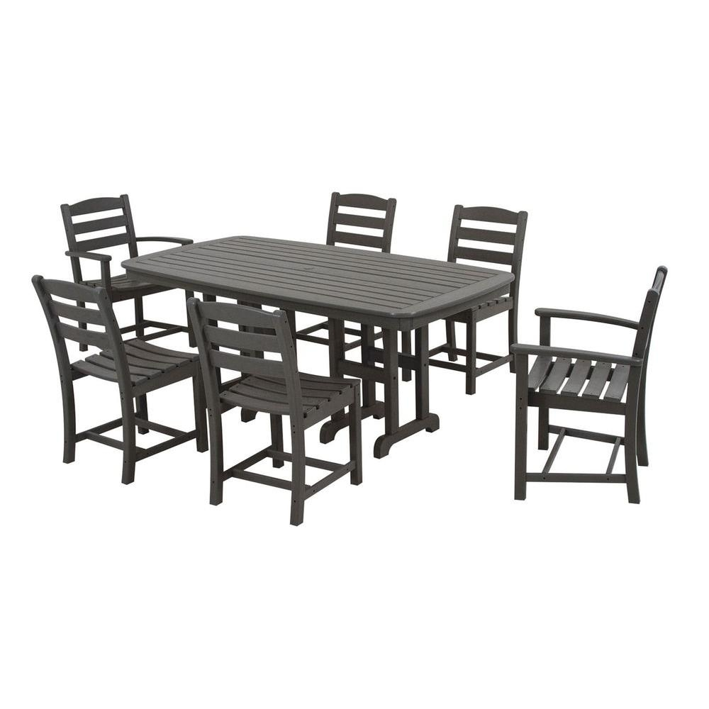 Polywood La Casa Cafe Slate Grey 7 Piece Plastic Outdoor Patio For Most Recently Released Laurent 7 Piece Rectangle Dining Sets With Wood Chairs (Image 19 of 20)
