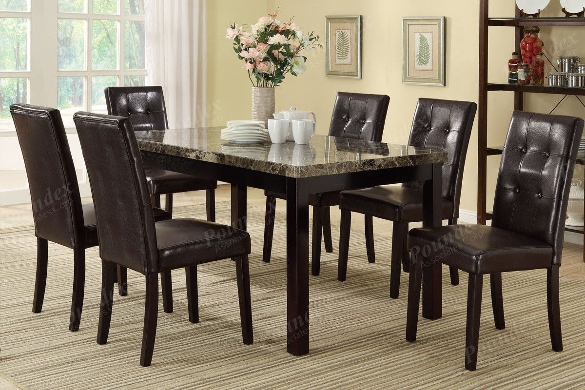 Poundex Poundex Arm Chair & Dining Chair F1078 (2Piece) | Dining For Most Recent Craftsman 7 Piece Rectangle Extension Dining Sets With Arm & Side Chairs (Photo 5 of 20)