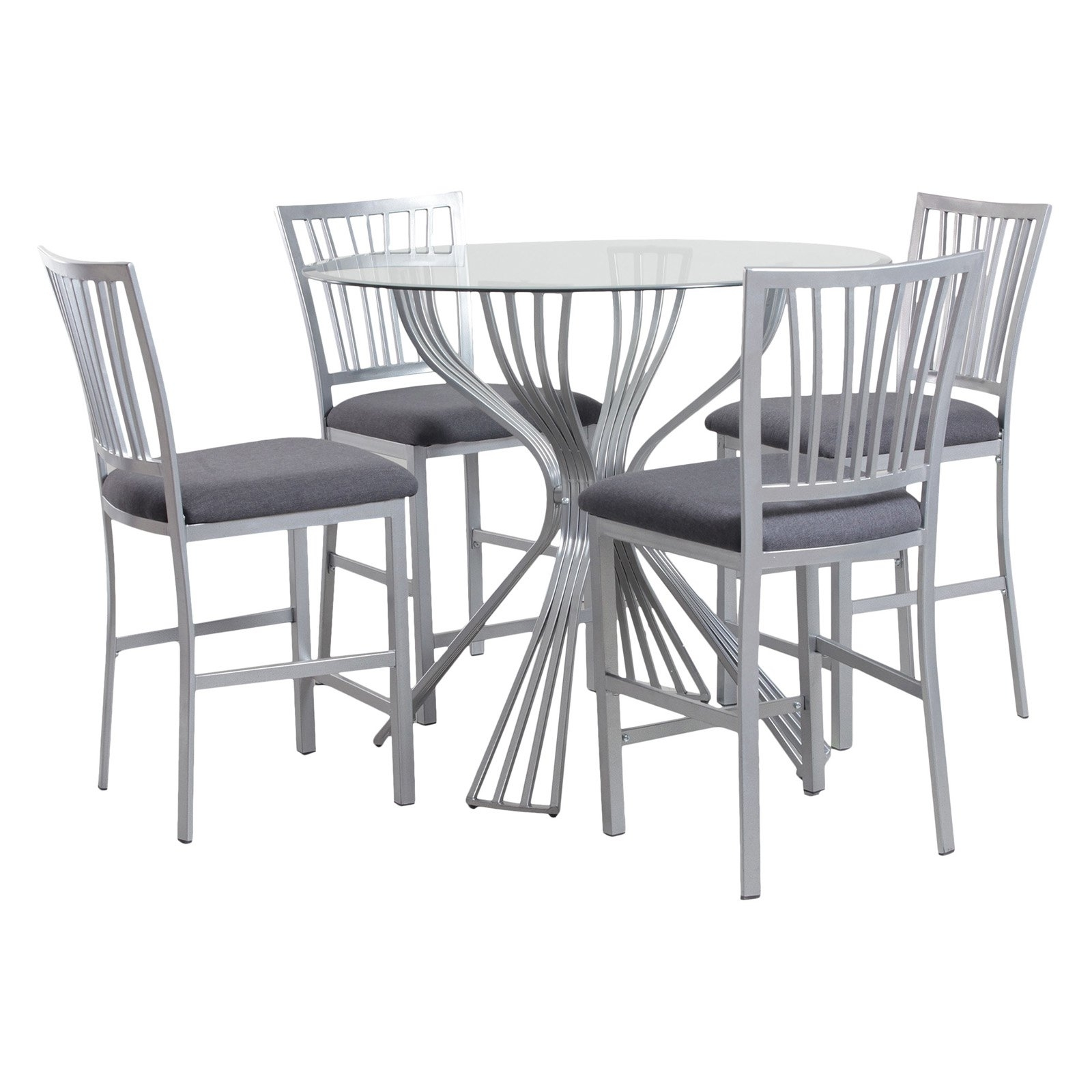 Powell Delgado Counter Height 5 Piece Dining Table Set – Walmart Within Newest Hyland 5 Piece Counter Sets With Bench (View 14 of 20)