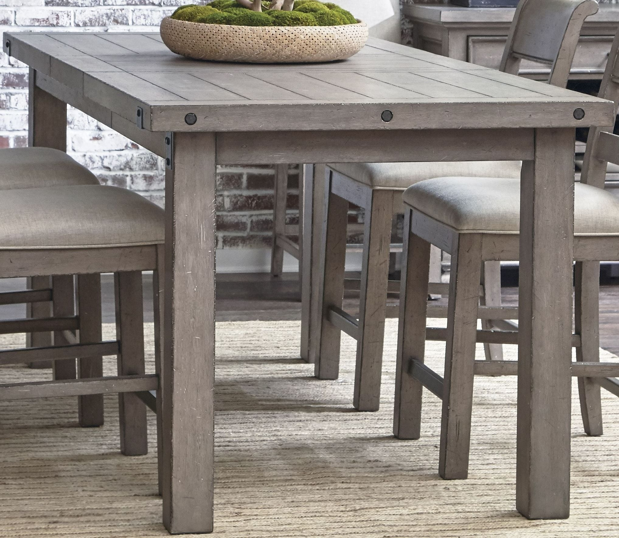 Prospect Hill Gray Rectangular Counter Height Dining Table | Making Pertaining To Best And Newest Craftsman 7 Piece Rectangle Extension Dining Sets With Uph Side Chairs (Image 15 of 20)