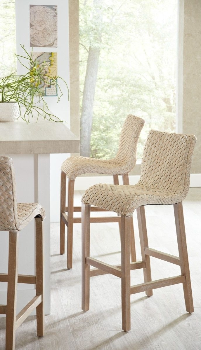 Pull Up One Of Our Gracefully Flowing Sanders Wicker Barstools, And With Regard To Newest Laurent 7 Piece Counter Sets With Upholstered Counterstools (View 19 of 20)