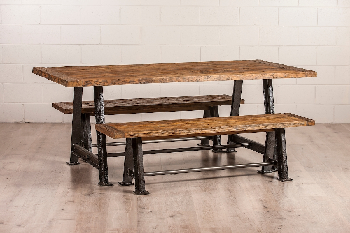 Railway Dining Table With Metal Legs | Suasana | Furniture Brisbane Throughout Most Recently Released Mango Wood/iron Dining Tables (Image 16 of 20)