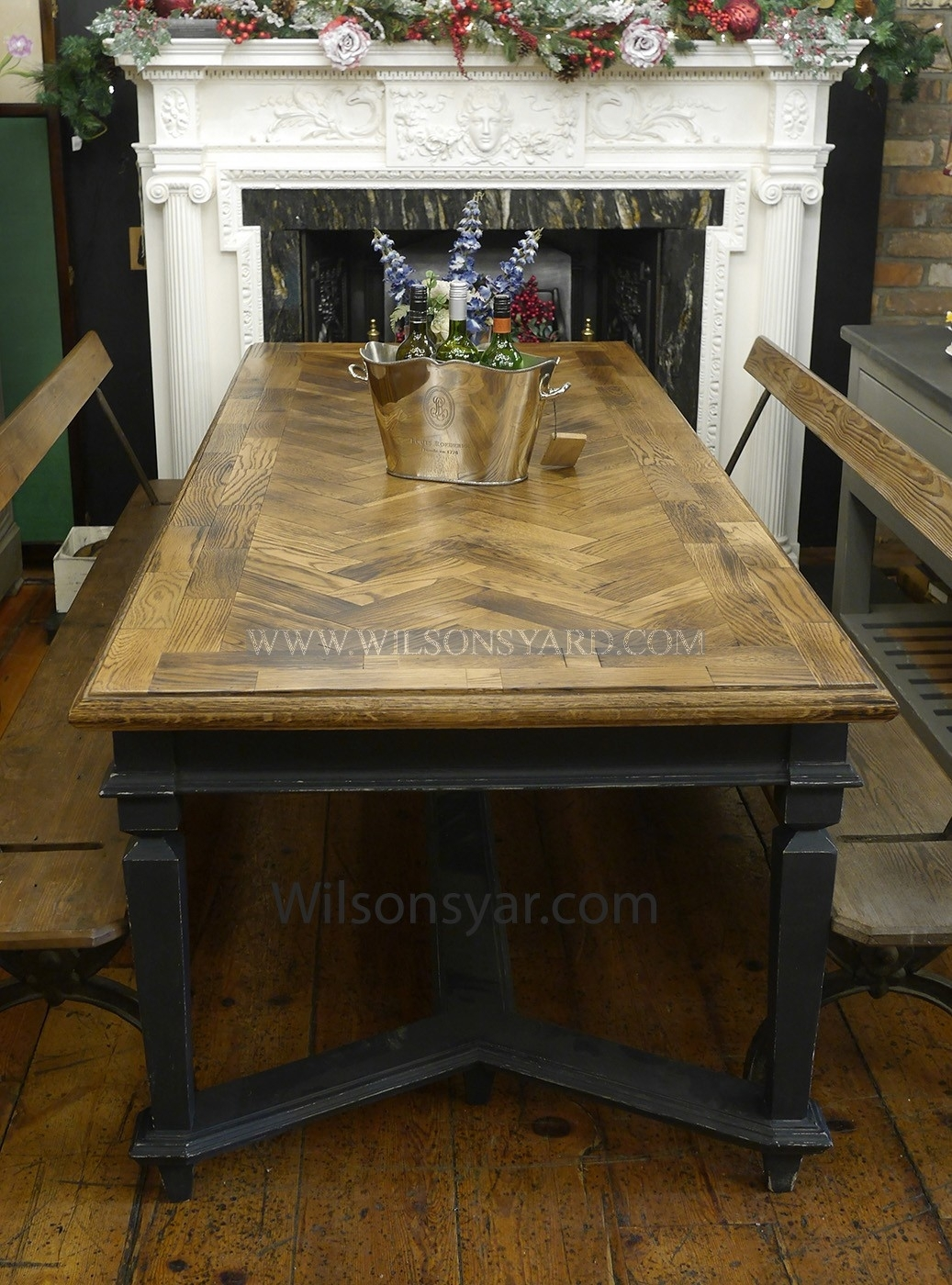 Reclaimed Oak Parquet Topped Bohemian Style Table | Wilsonsyard In Newest Parquet Dining Tables (Image 15 of 20)