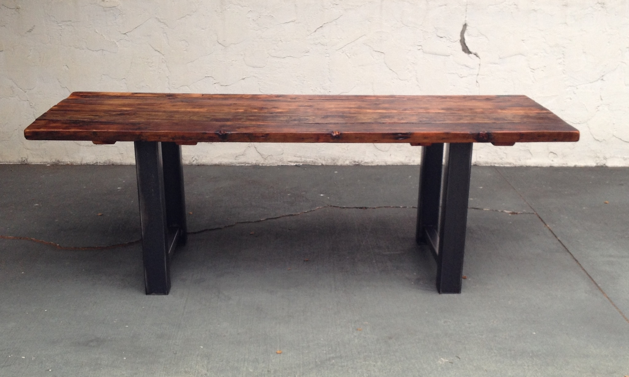 Reclaimed Wood And Steel Dining Table | The Coastal Craftsman Throughout 2017 Iron And Wood Dining Tables (View 17 of 20)