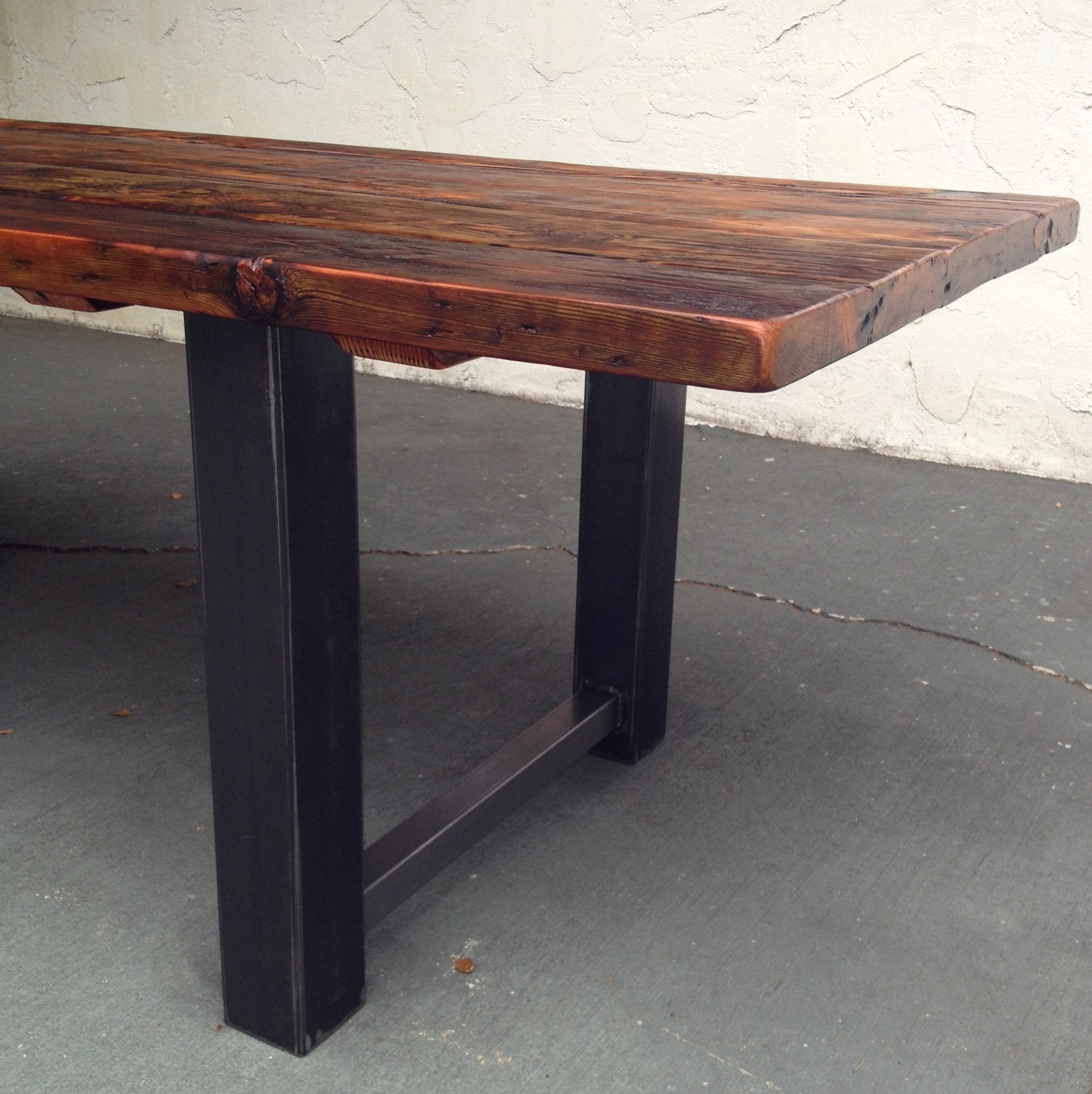 Reclaimed Wood And Steel Dining Table | The Coastal Craftsman Throughout Most Popular Iron And Wood Dining Tables (View 15 of 20)